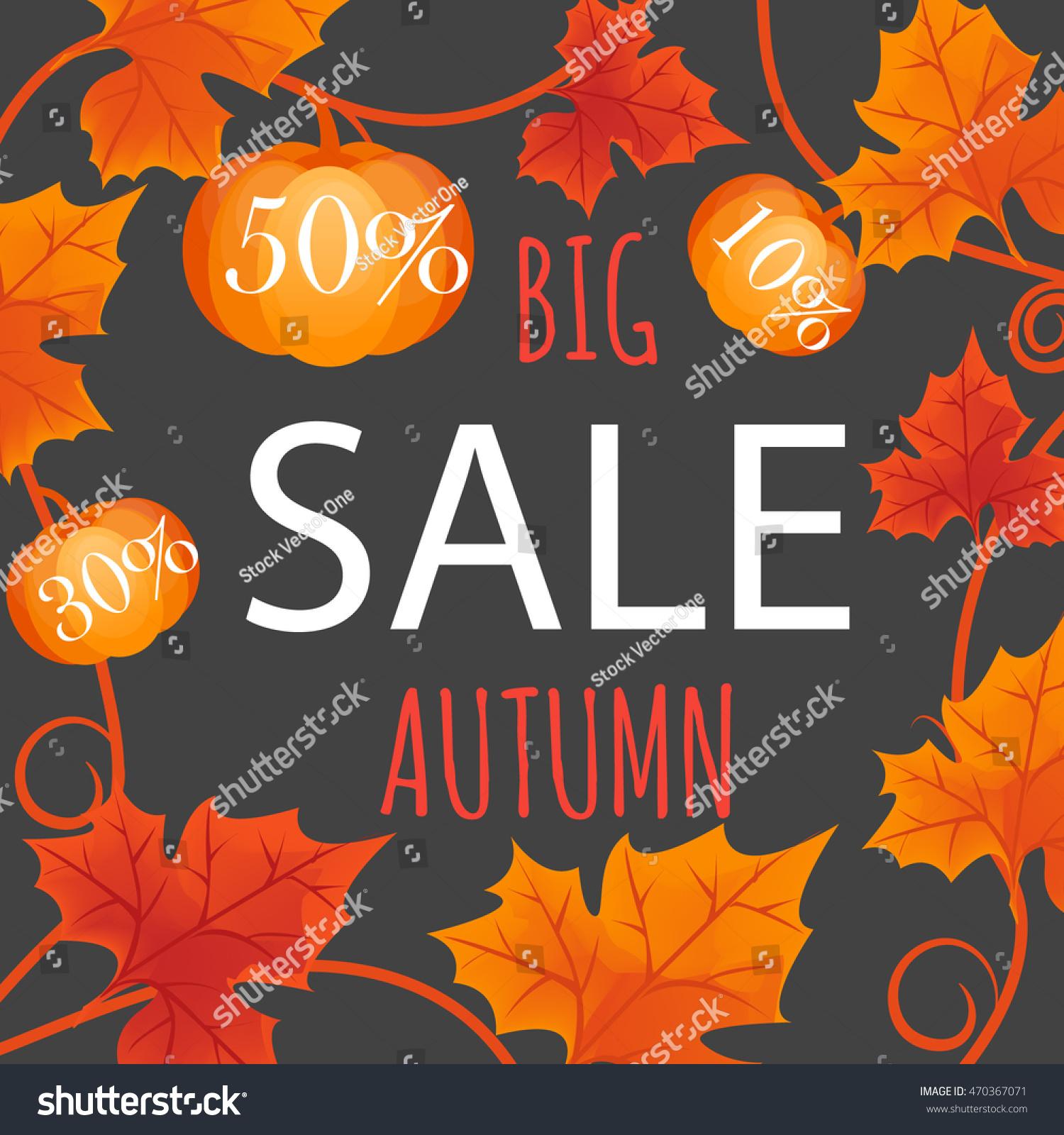 big autumn sale fall leaves pumpkin のベクター画像素材
