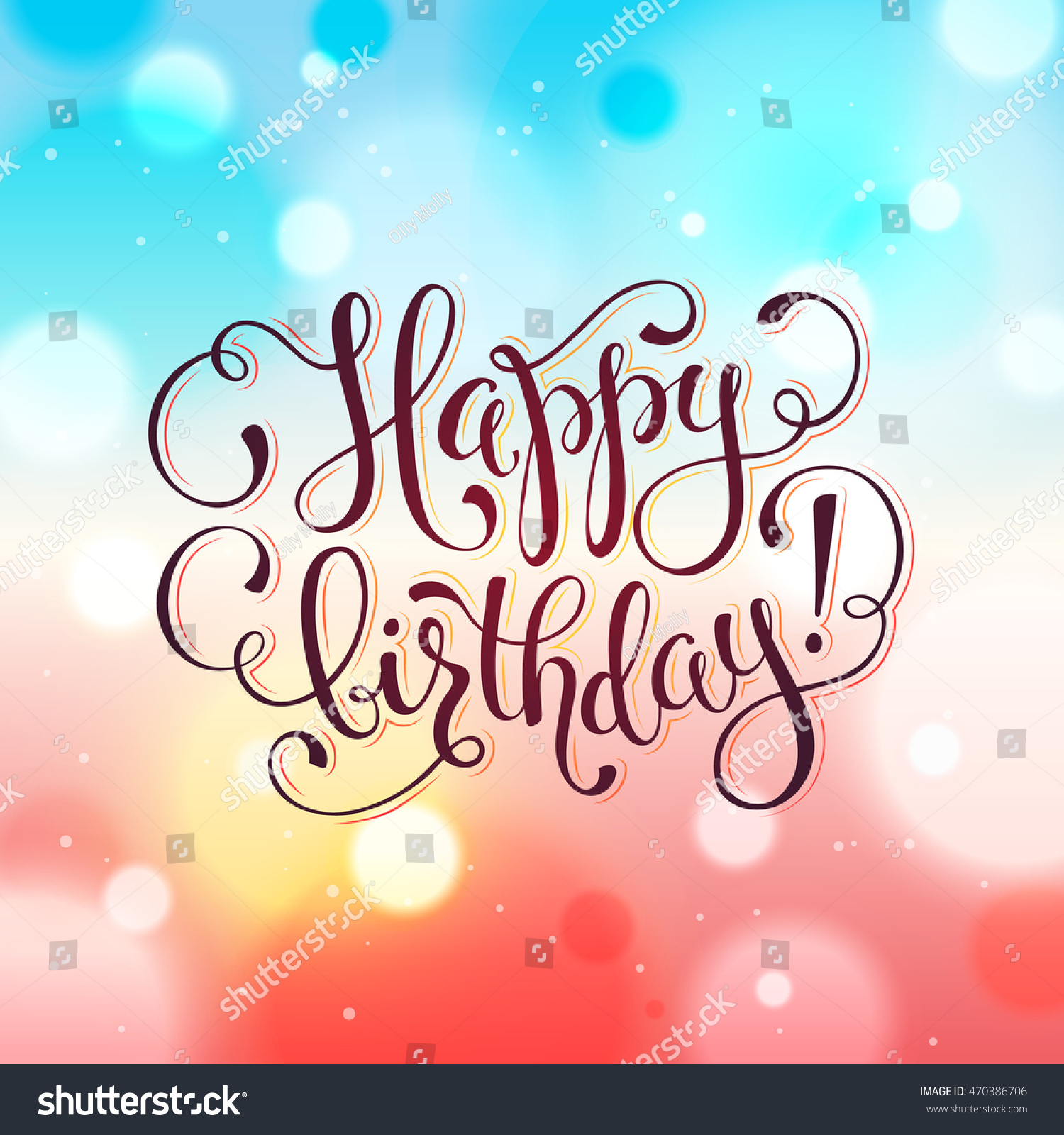Happy Birthday Greeting Card Hand Drawn Stock Vector Royalty Free