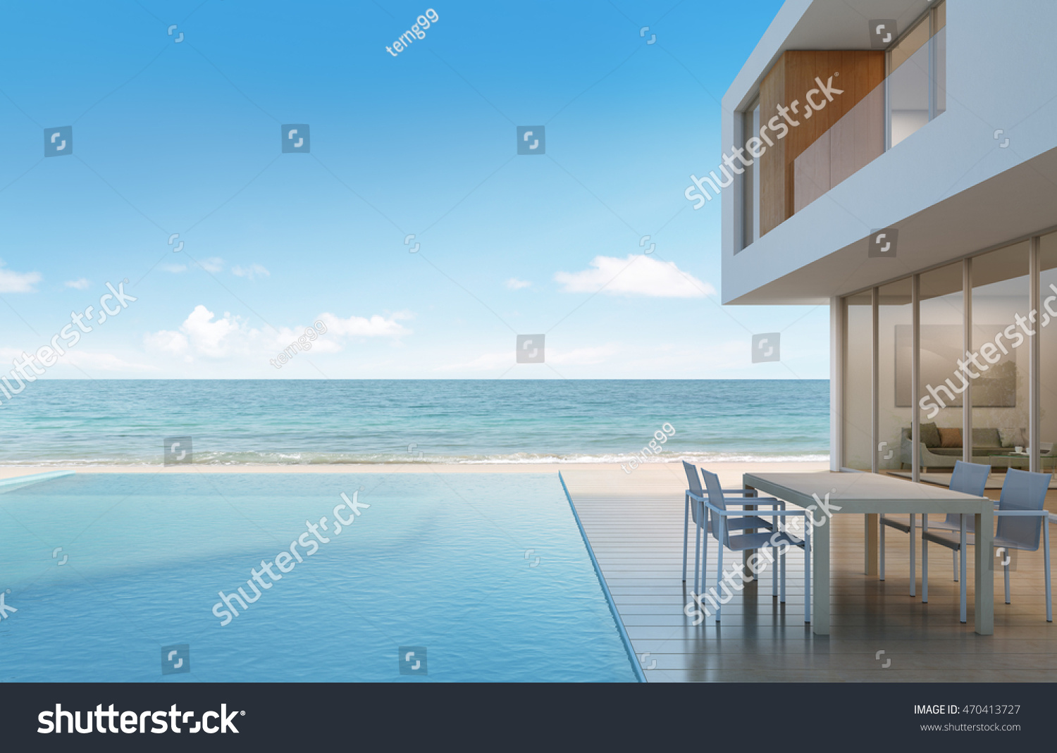Beach House Sea View Modern Design Stock Illustration