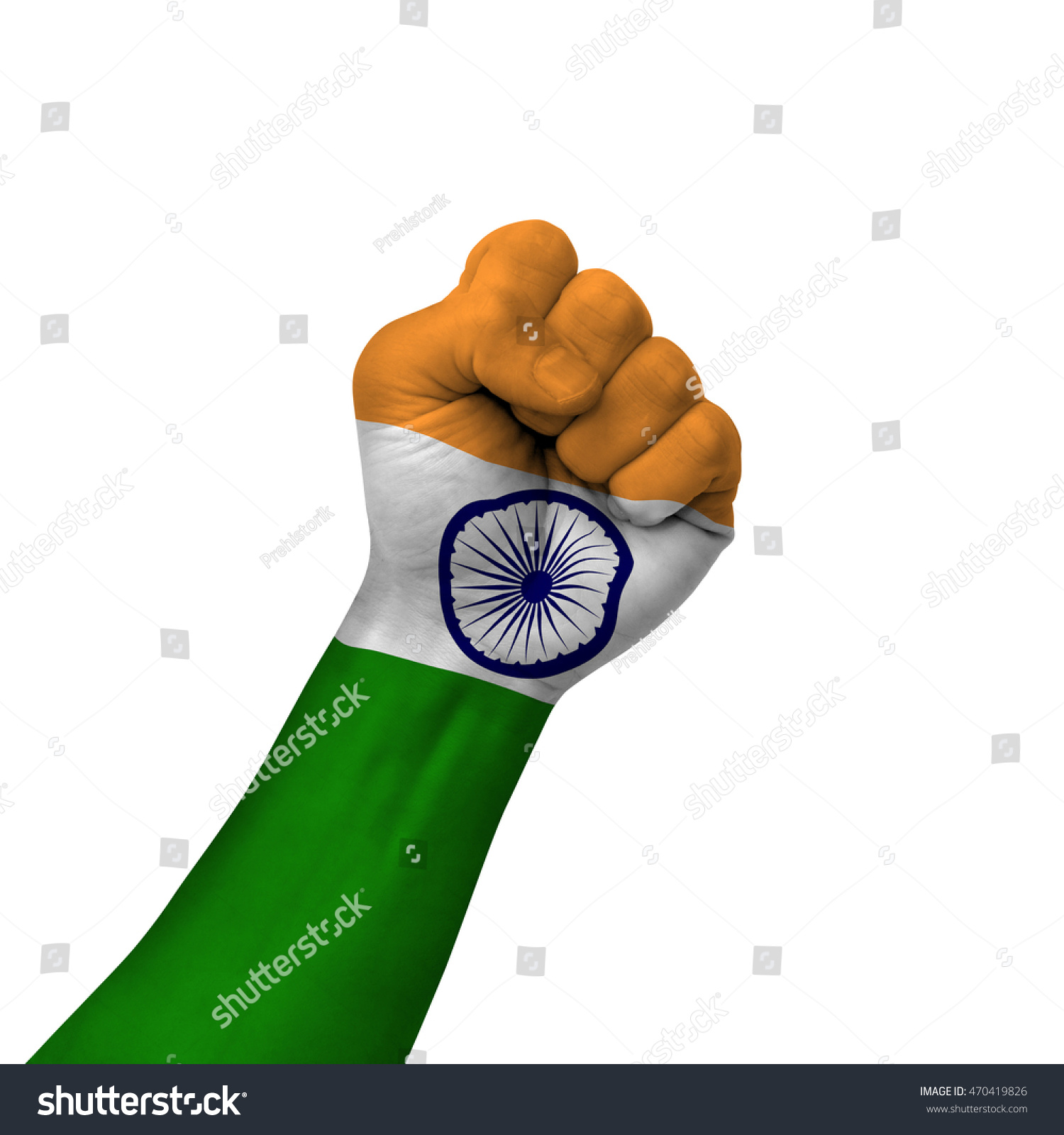 Hand Making Victory Sign India Painted Stock Photo Edit Now