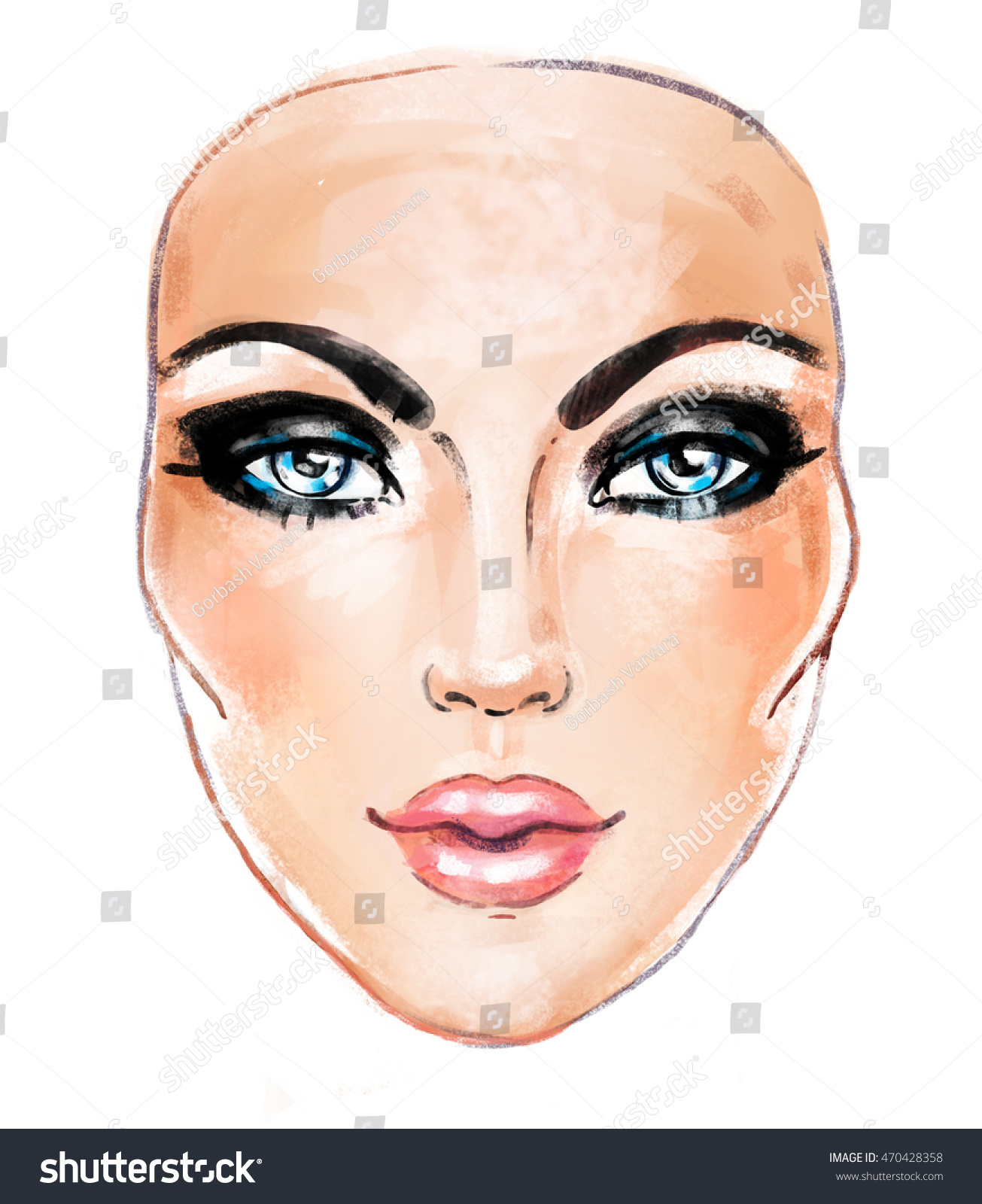 woman face hand painted fashion illustration stock illustration