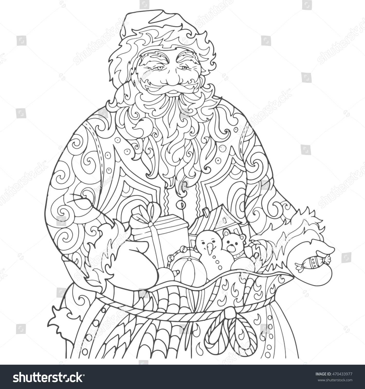 Santa Claus Bag Gifts Hand Out Stock Vector 470433977 - Shutterstock