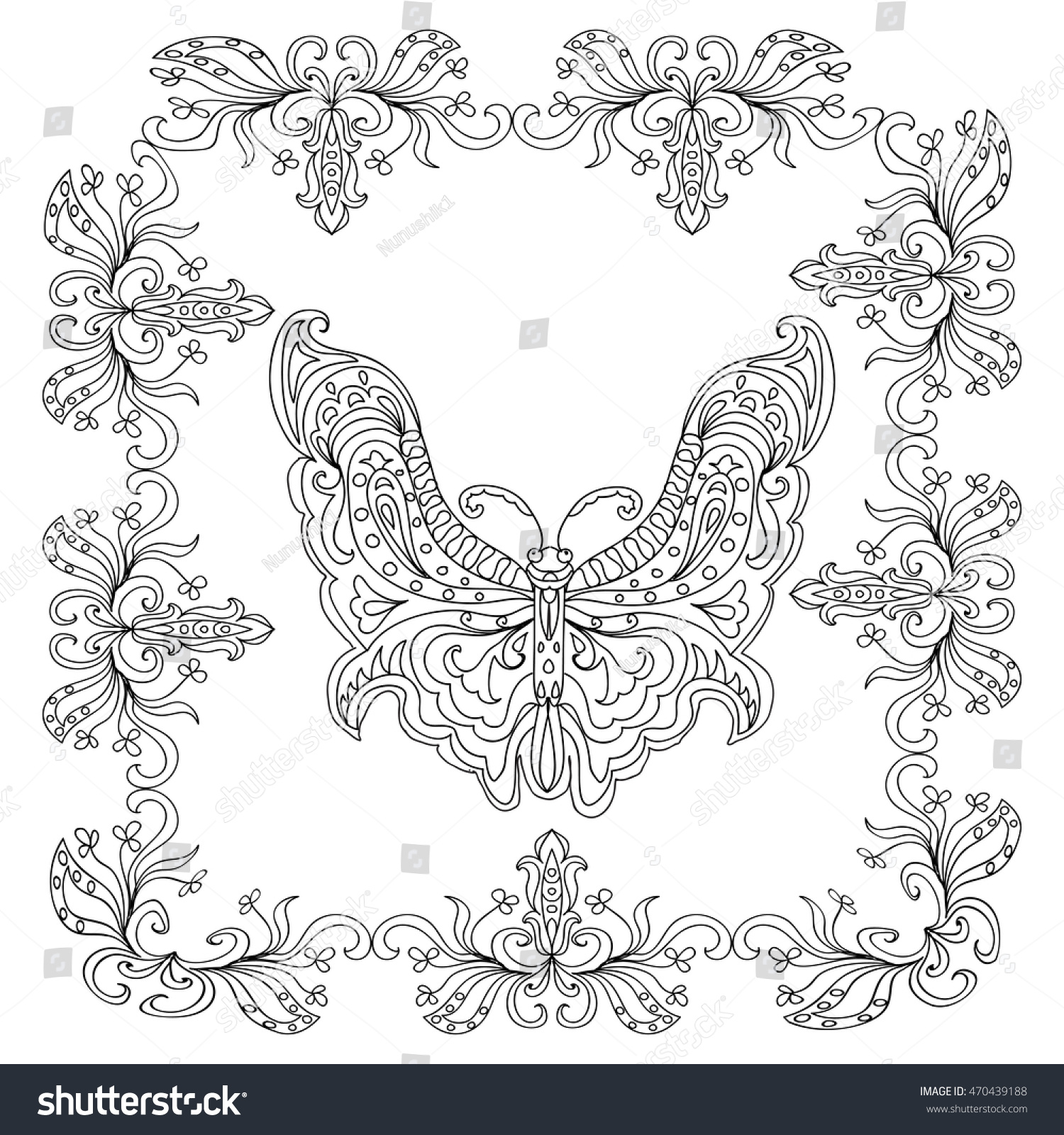 Butterfly Abstract Mandala Coloring Page Stock Vector 470439188 ...