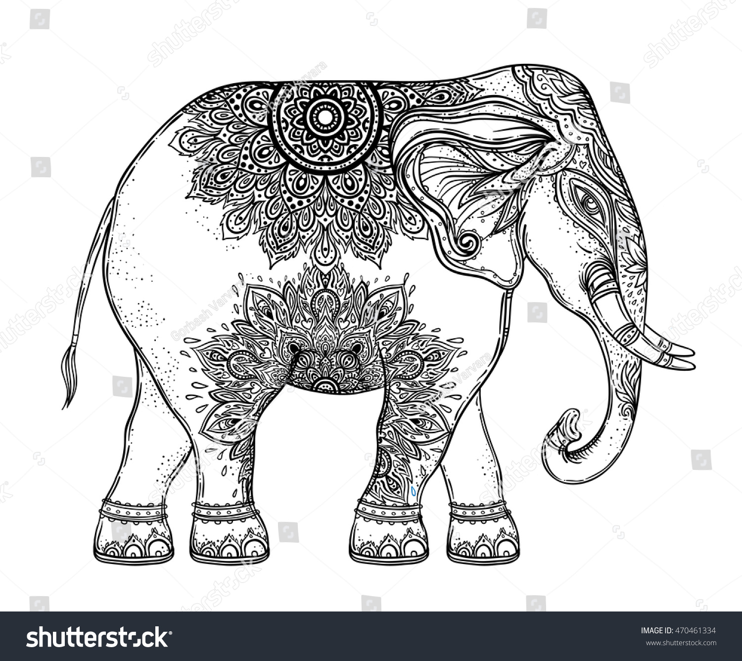 Beautiful Handdrawn Tribal Style Elephant Coloring Stock Vector ...