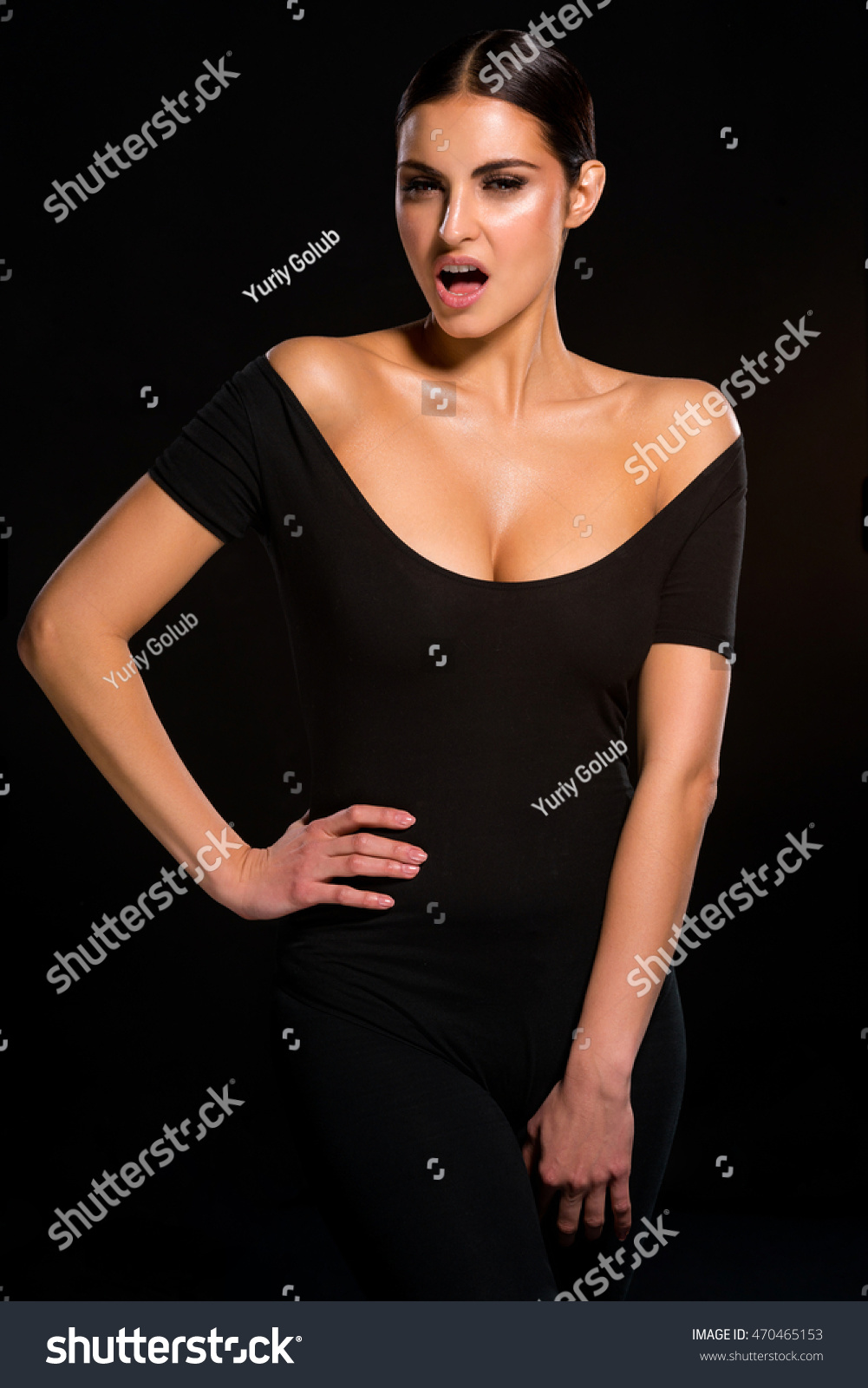 Hot Passionate Lady In Black Dress For Perfect Body With No Defects Sexy Woman With