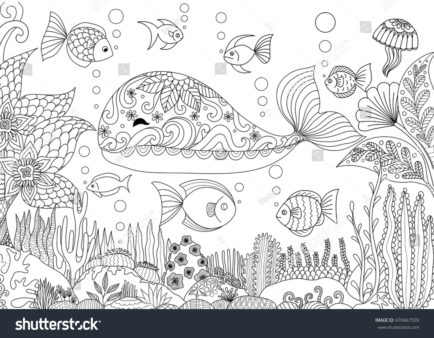 Under the sea coloring book for adults - Doodles Design Of A Little Whale Under The Sea With Beautiful Corals For Adult Coloring Book