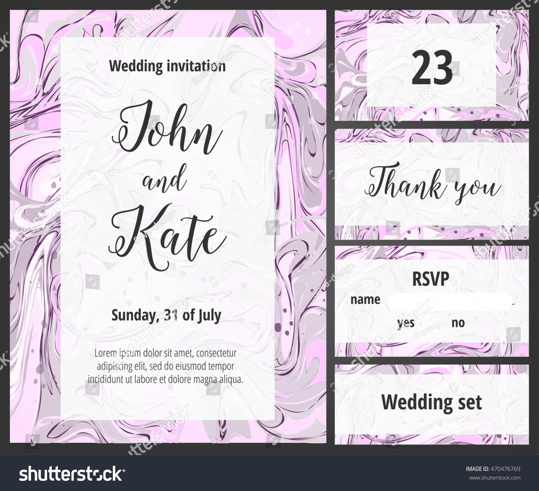 Pink Purple Wedding Invitation Printable Template Stock Vector ...