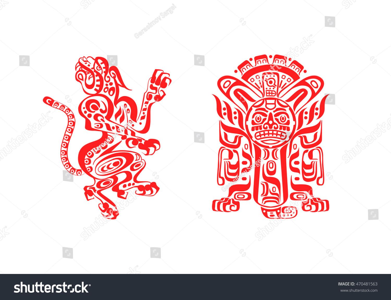 Vector Illustration Aztec Mayan Tattoos Jaguar Stock Vector Royalty Free 470481563