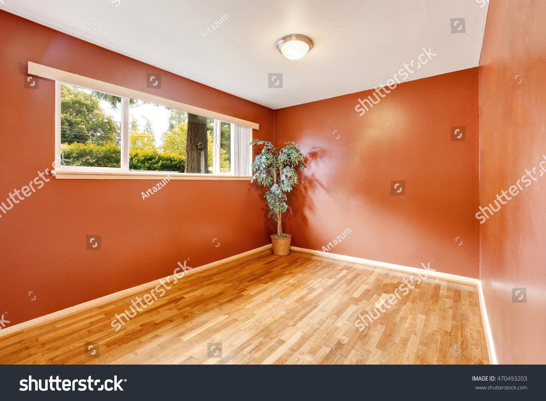 Empty room interior red walls hardwood stock photo for Northwest flooring