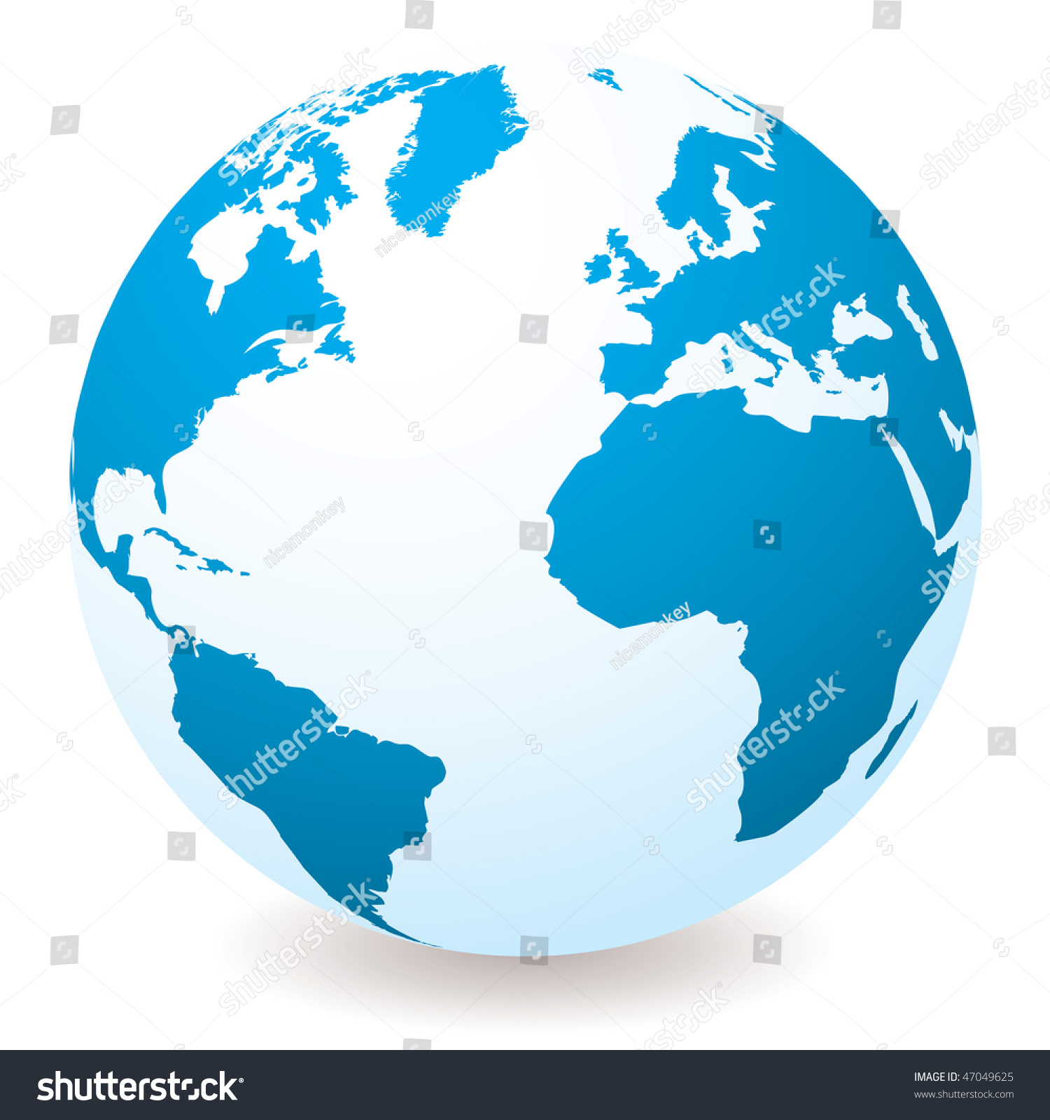 Blue White Earth Globe Drop Shadow Stock-vektorgrafik ...