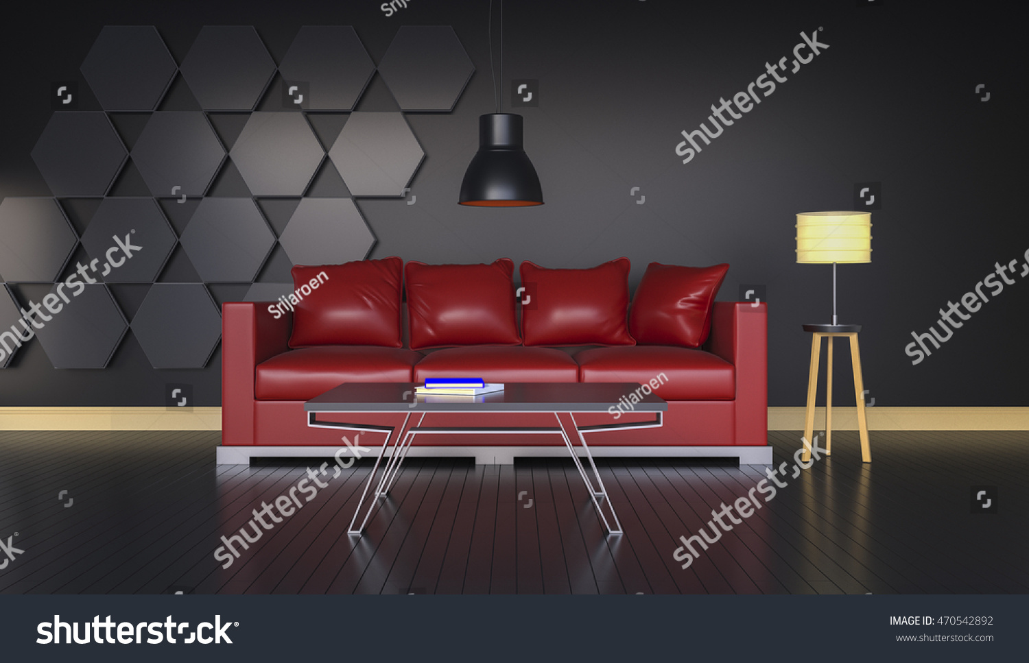 Charming 3D Rendering Of Interior Modern Room Includes Sofa, Floor Lamp, Carpet On  Painted Wooden Floorboards. | EZ Canvas