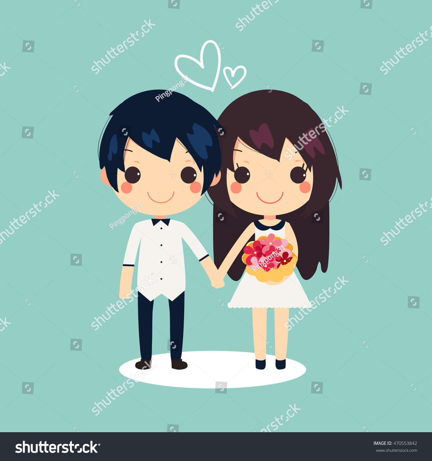 Cute couple hold hands and have flowers in another girls hand with white heart shape vector