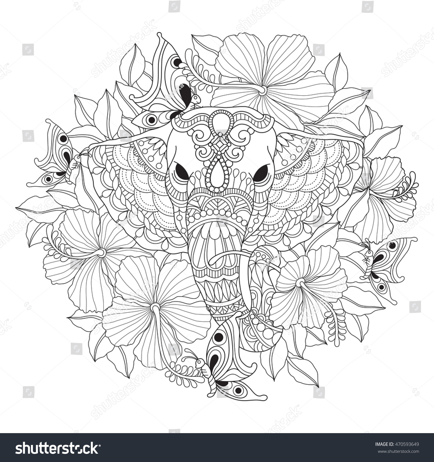 Hand Drawn Elephant Flower Color Book Stock Vector 470593649 ...
