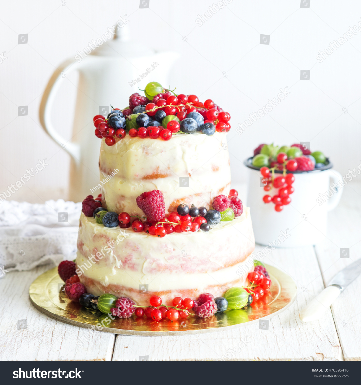 Two Tiered White Semi Naked Cake Stock Photo (Safe to Use) 470595416 ...