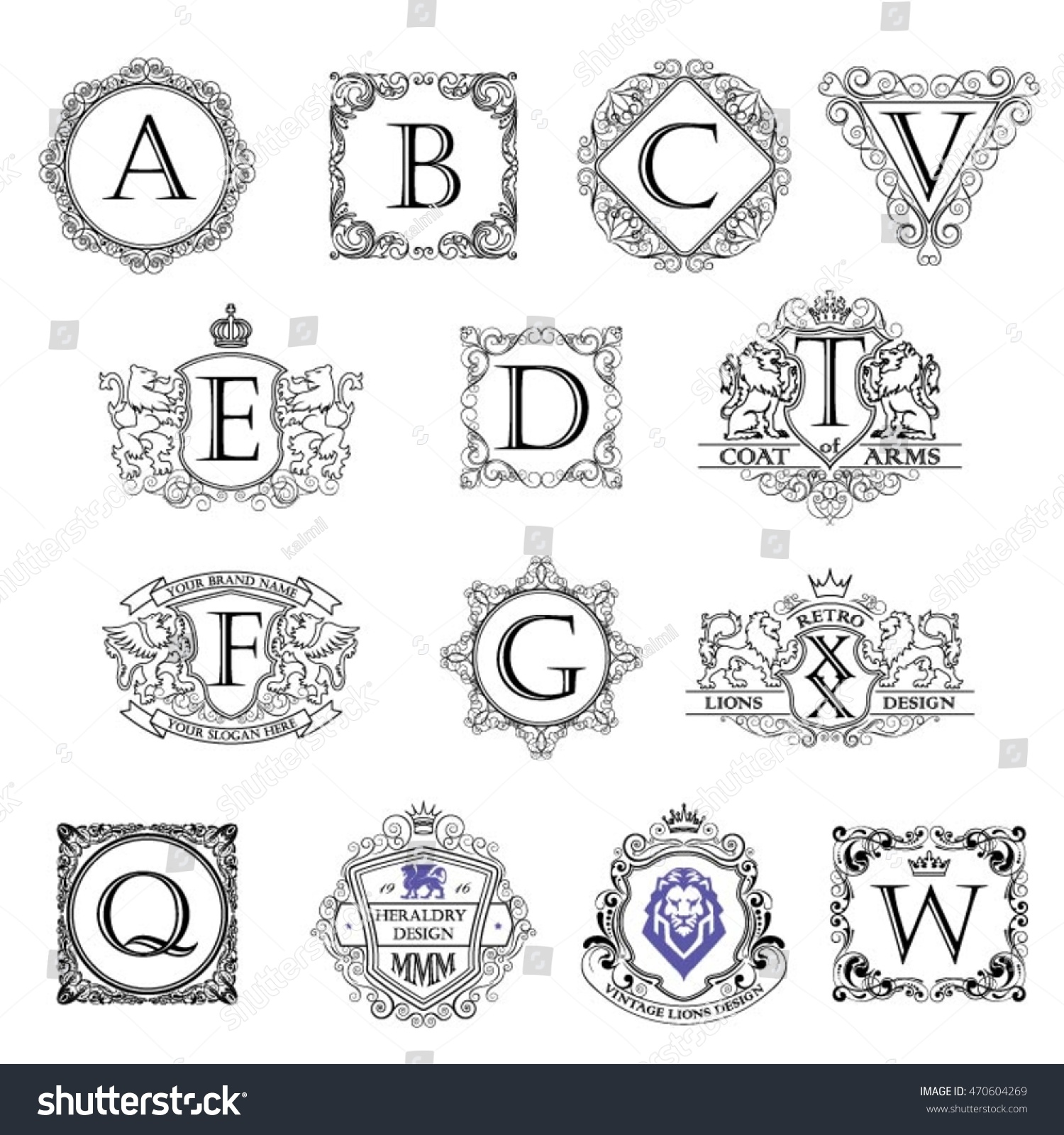 stock-vector-set-monogram-outline-coat-of-arms-470604269 Official Esa Letter Template on