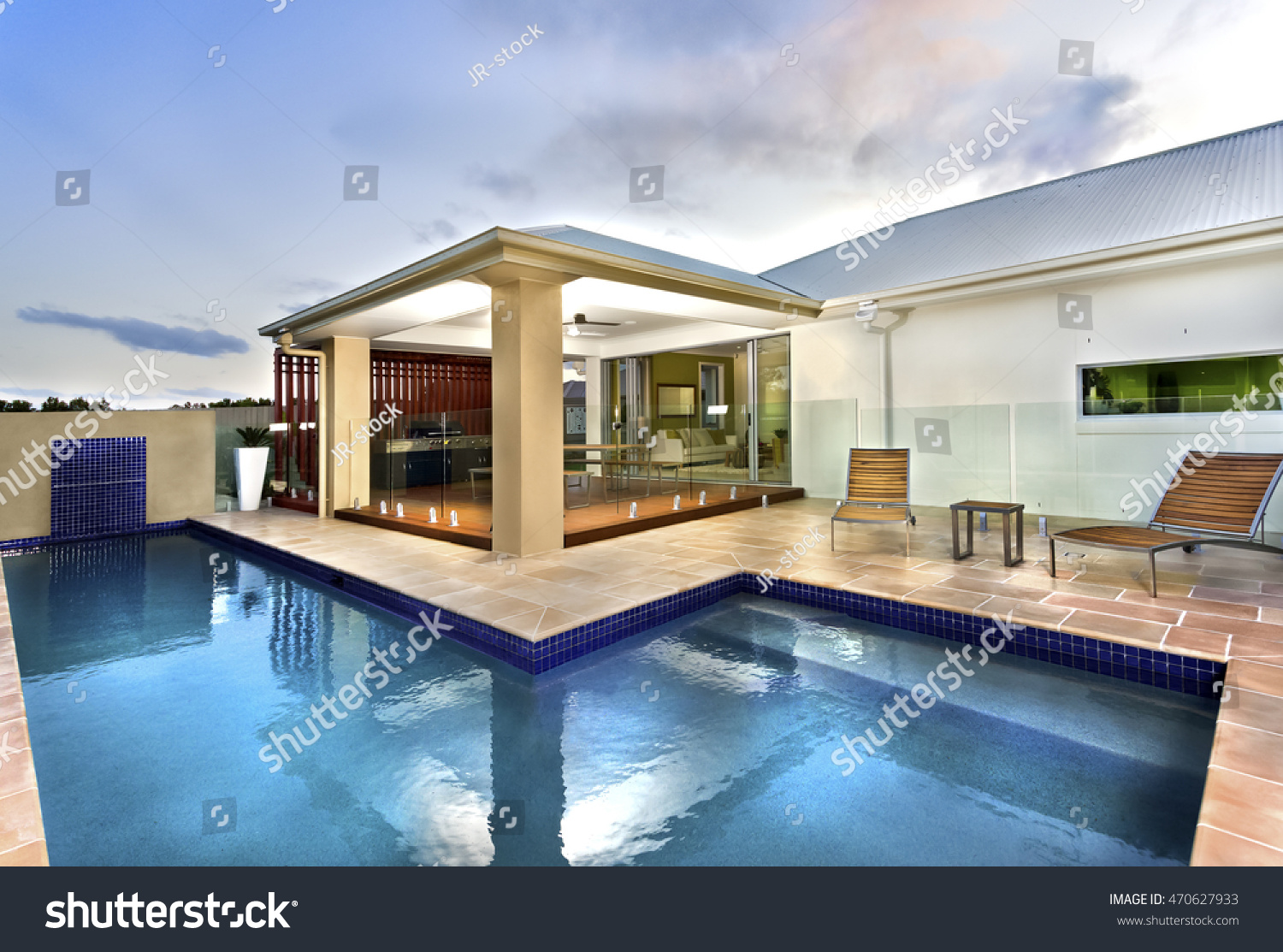 Modern House Has Beautiful Lawn Front Stock Photo Edit Now