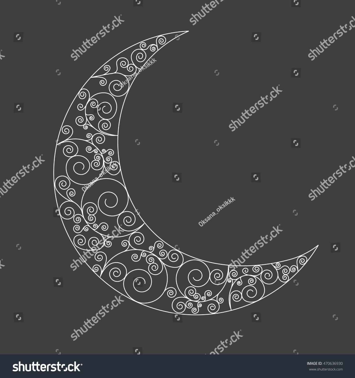 Royalty free decorated swirl crescent moon symbol 470636930 decorated swirl crescent moon symbol white moon icon on dark background can be used biocorpaavc Gallery
