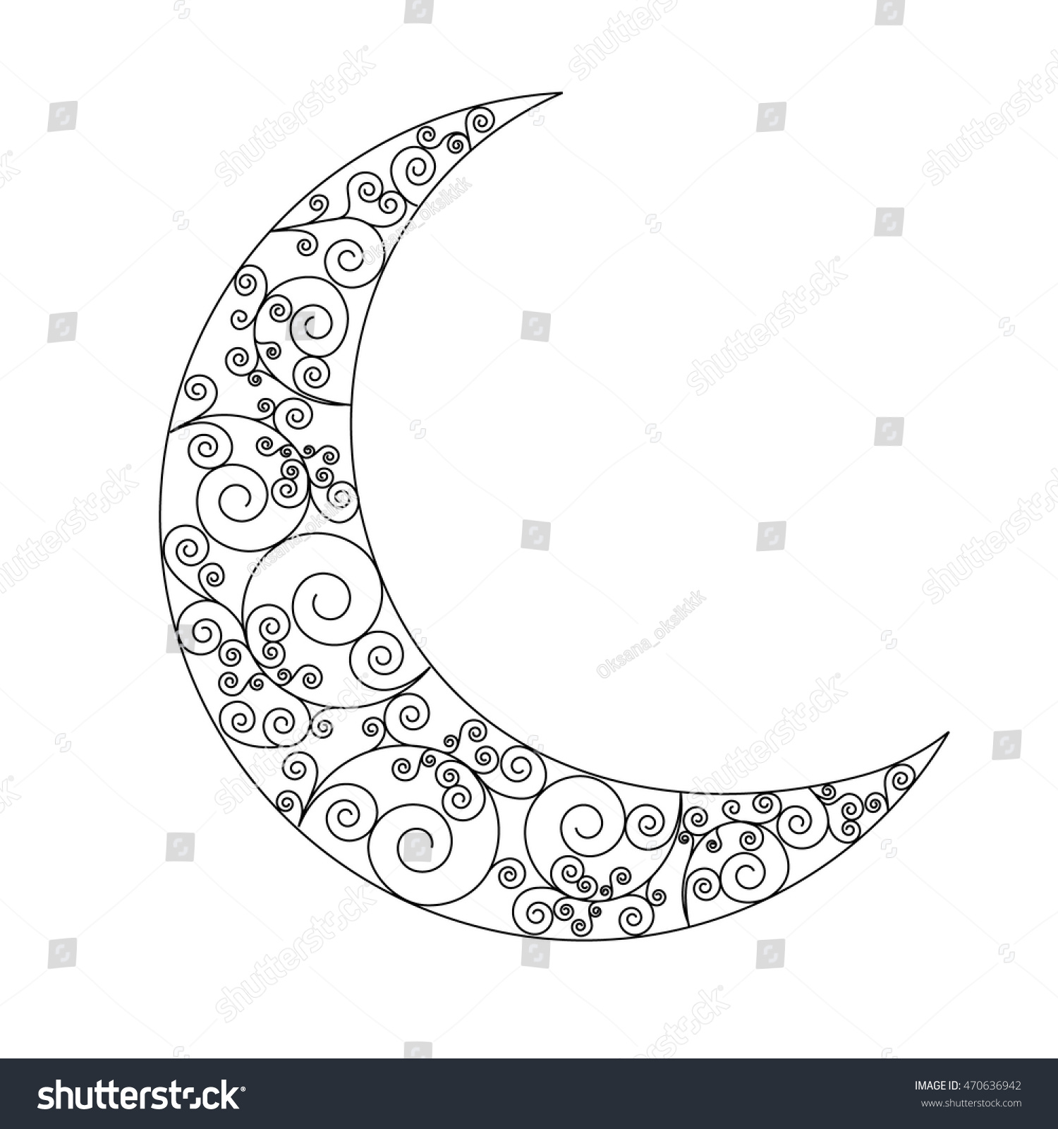 Decorated Swirl Crescent Moon Symbol Black Stock Vector Royalty