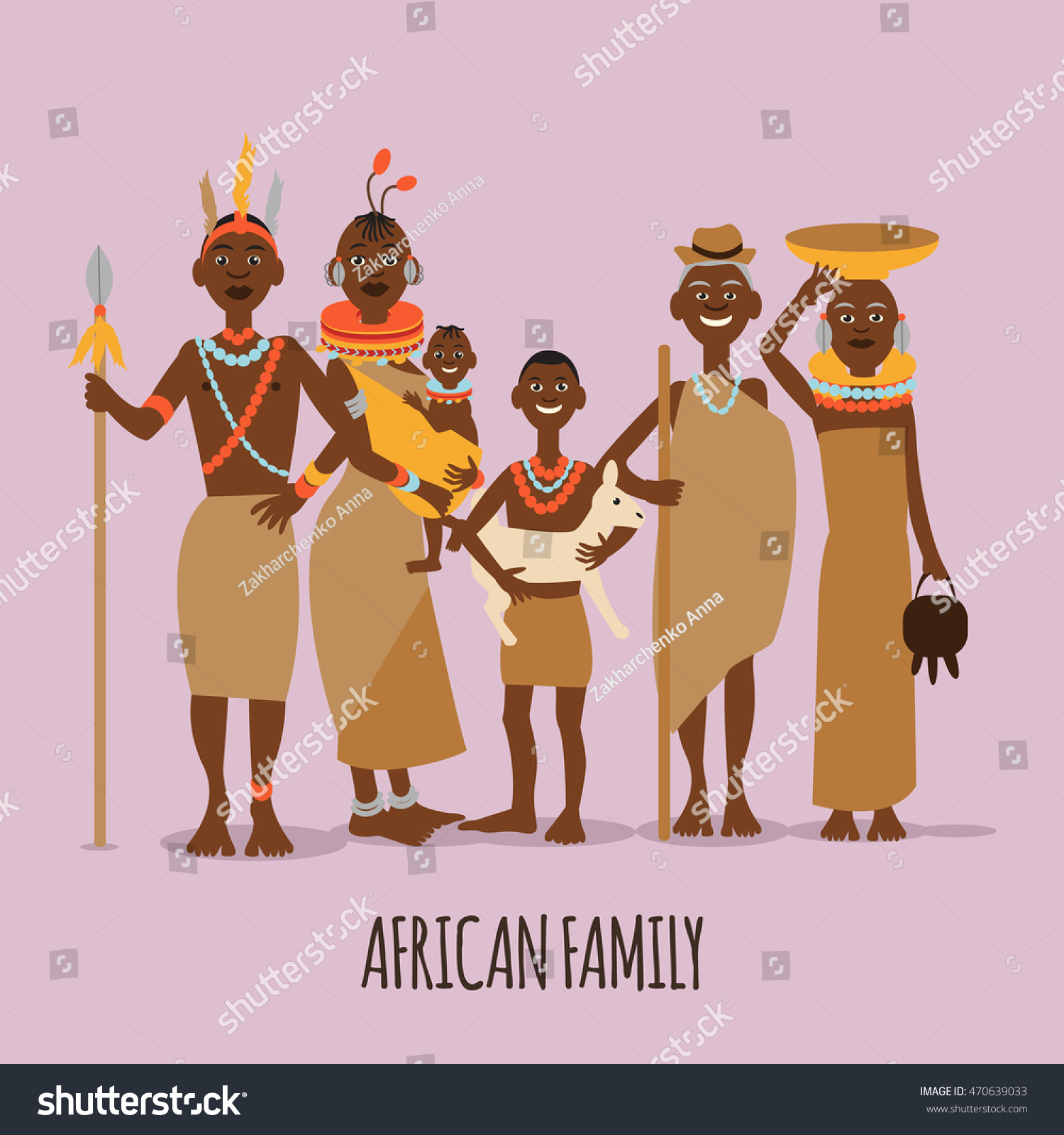 Happy African Family Mother Father Children Stock Vector (Royalty ...