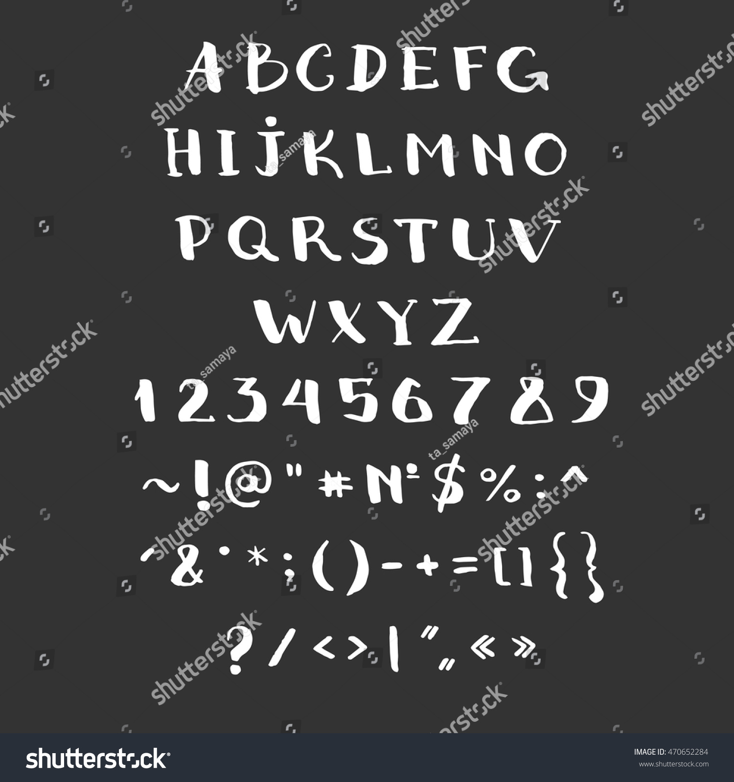 Alphabet Vector Hand Drawn With Symbols Abc Brush Painted Letters