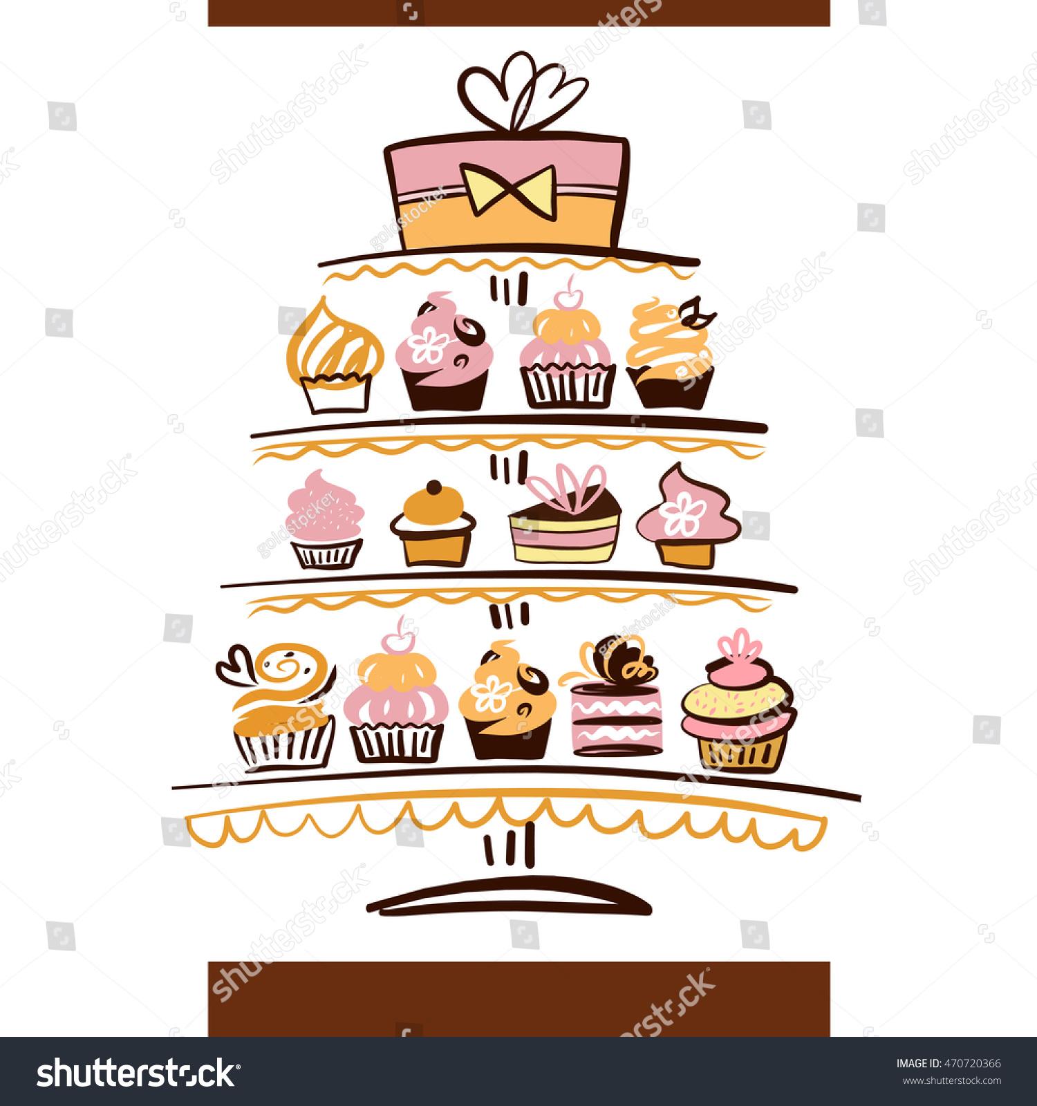 Wedding Cake Logo Natural Ingredient Element Stock Illustration ...