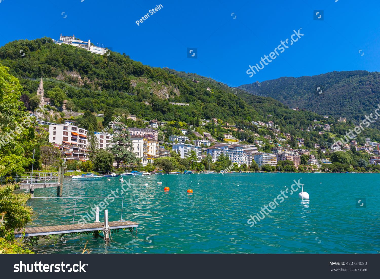 Beautiful View Geneva Lake Montreux City Stock Photo 470724080
