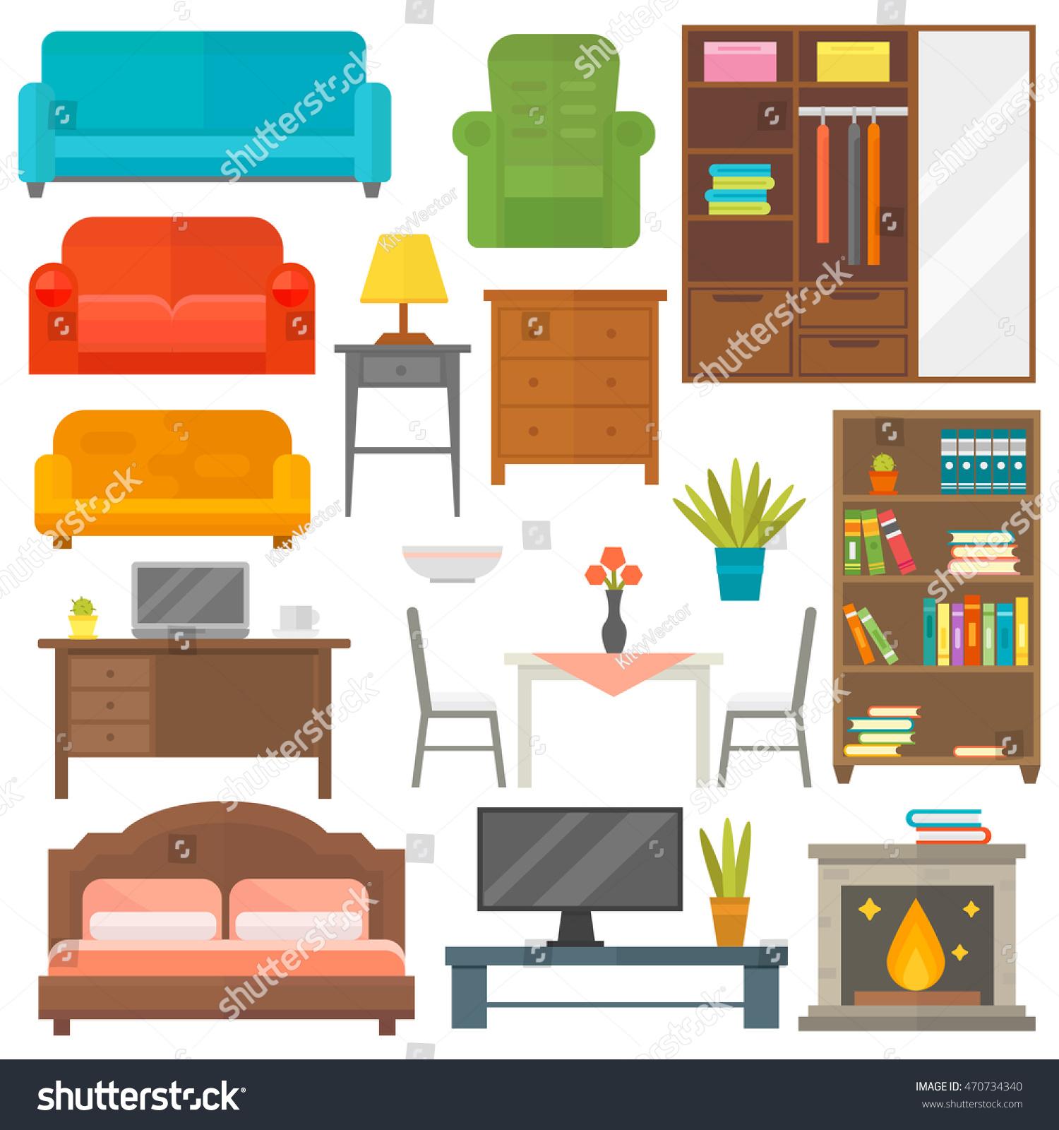 Furniture Home Decor Icon Set Vector Stock Vector