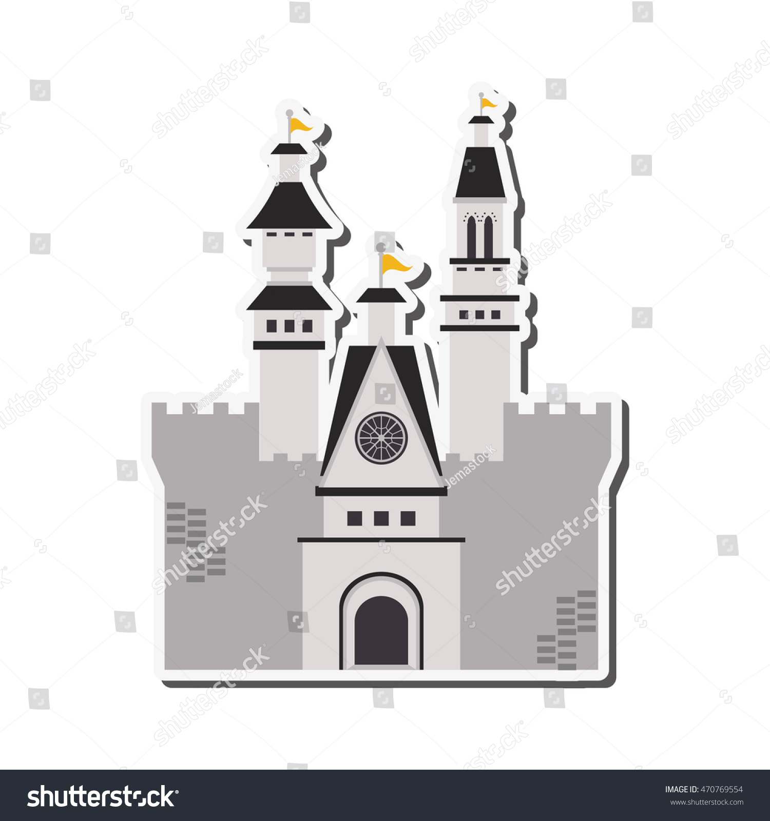 flat design large castle icon vector stock vector 470769554