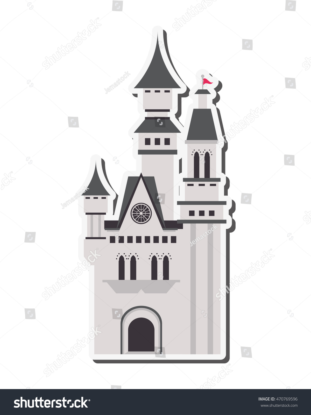 flat design large castle icon vector stock vector 470769596