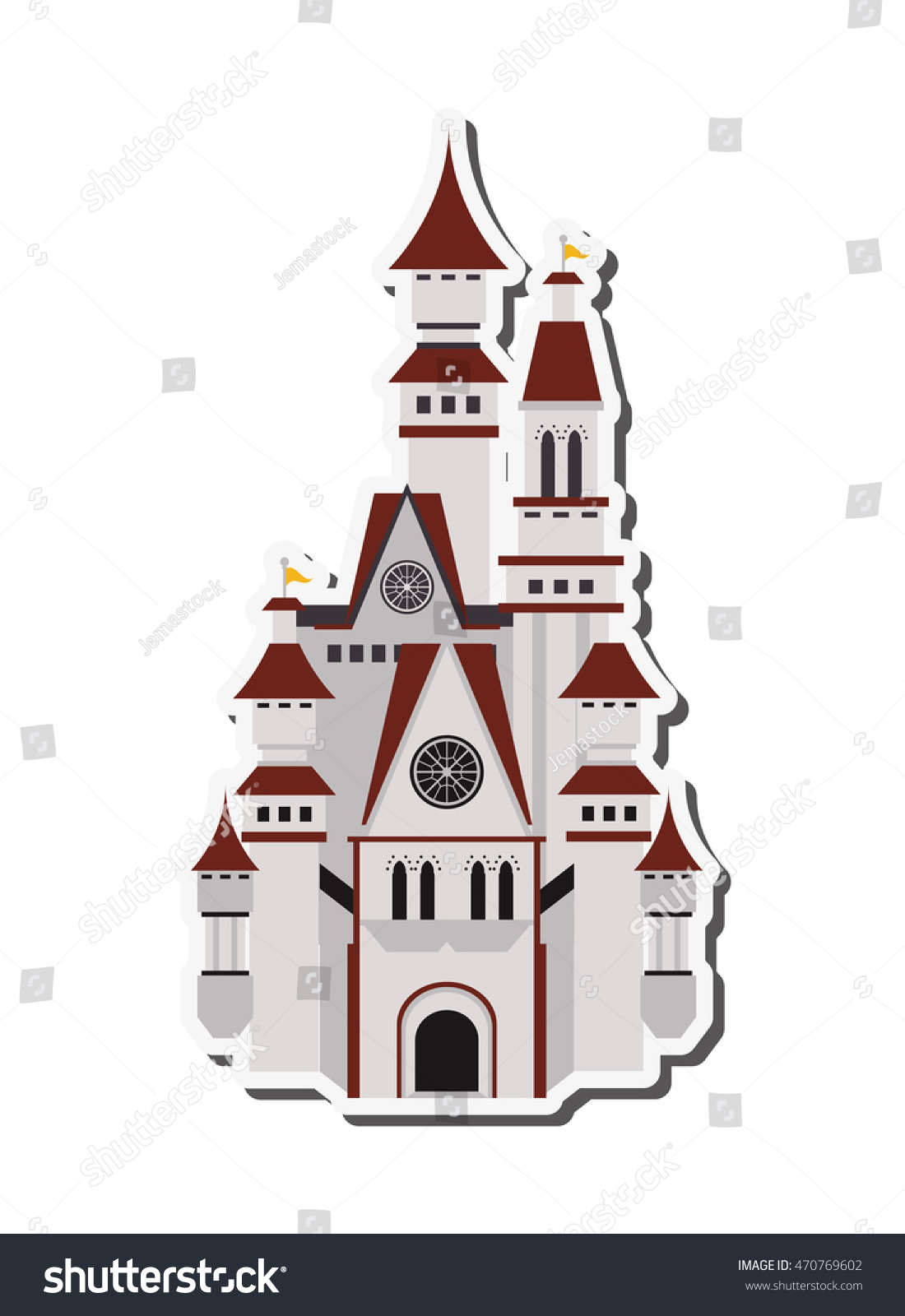 flat design large castle icon vector stock vector 470769602
