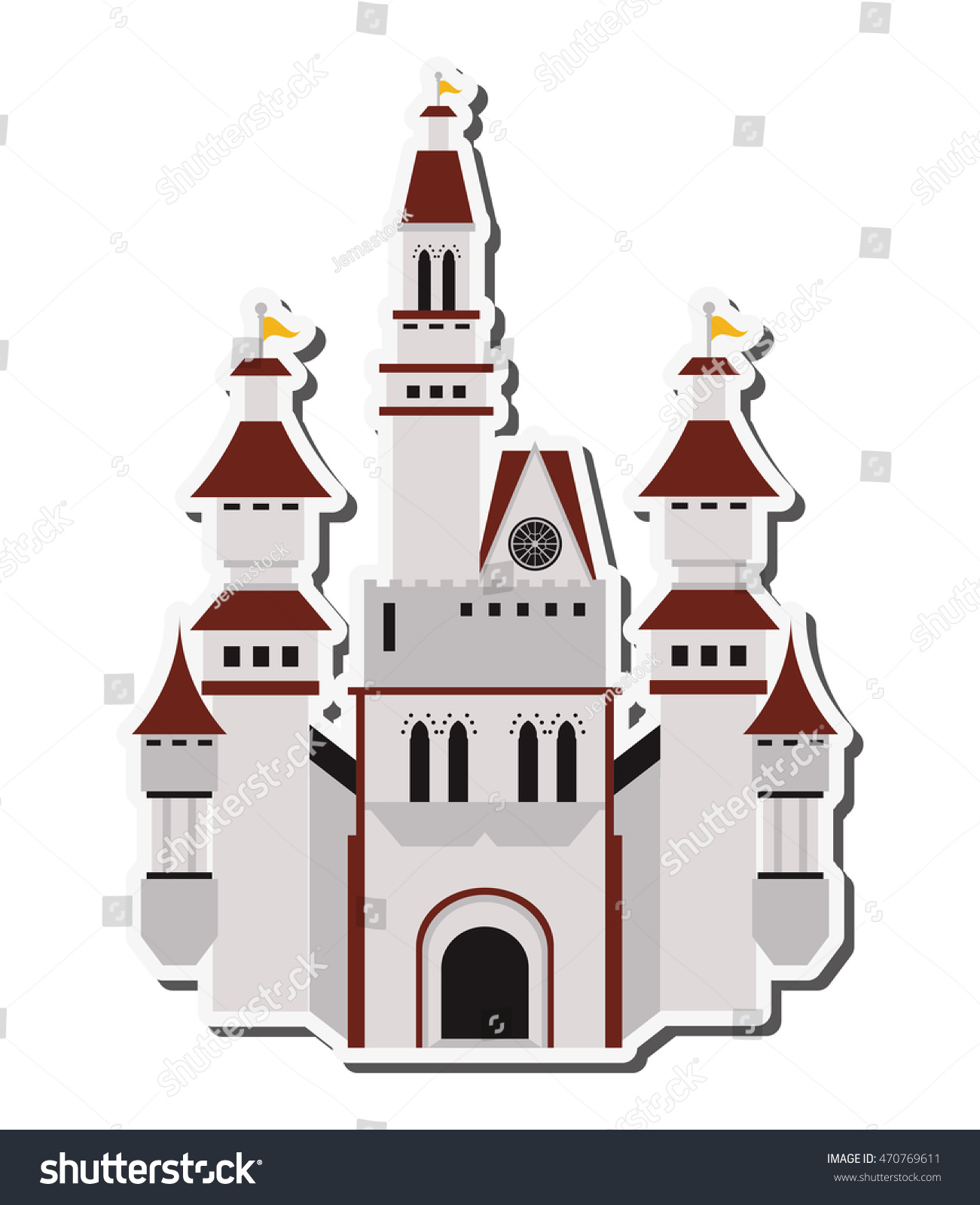 flat design large castle icon vector stock vector 470769611