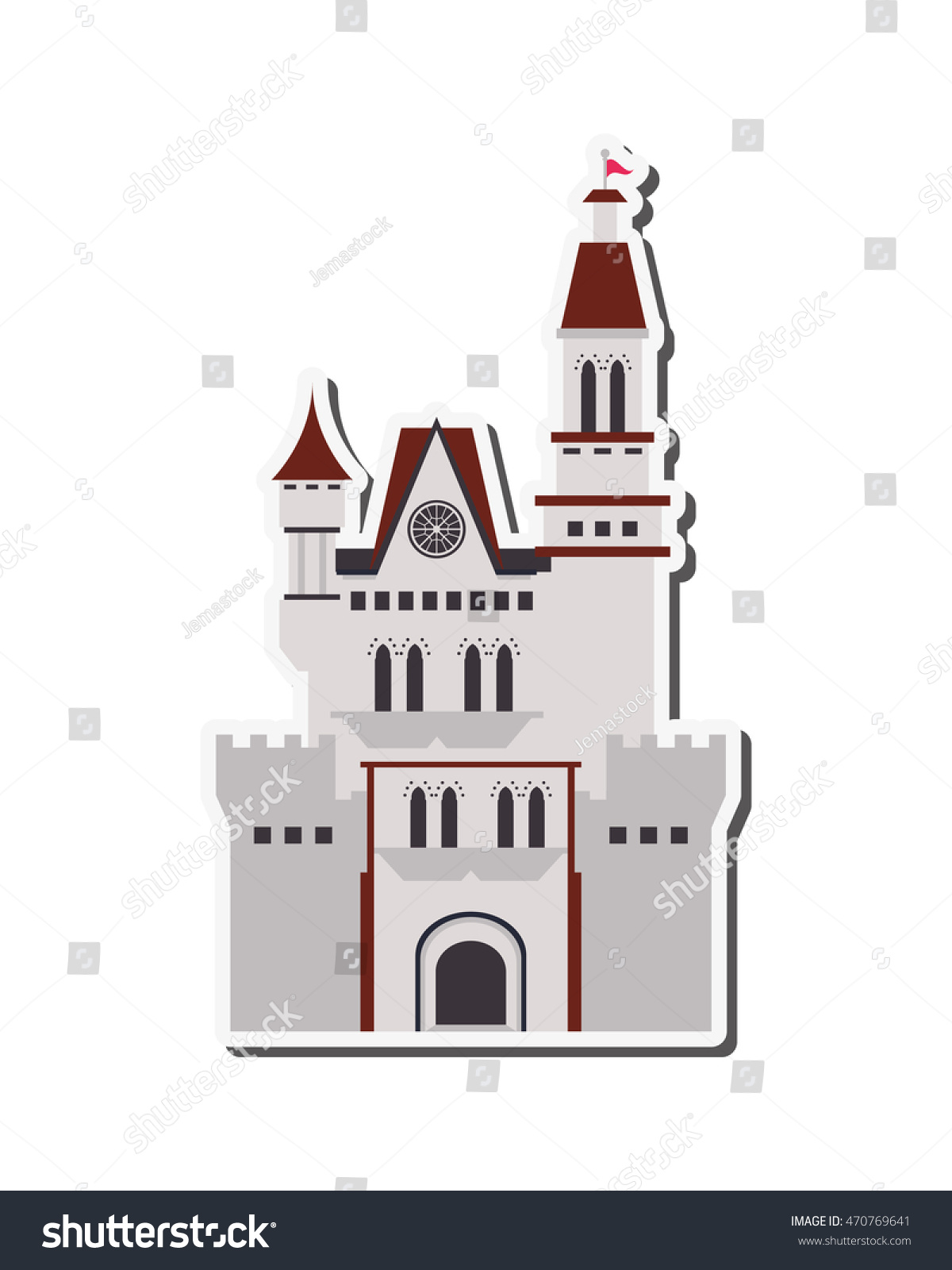 flat design large castle icon vector stock vector 470769641