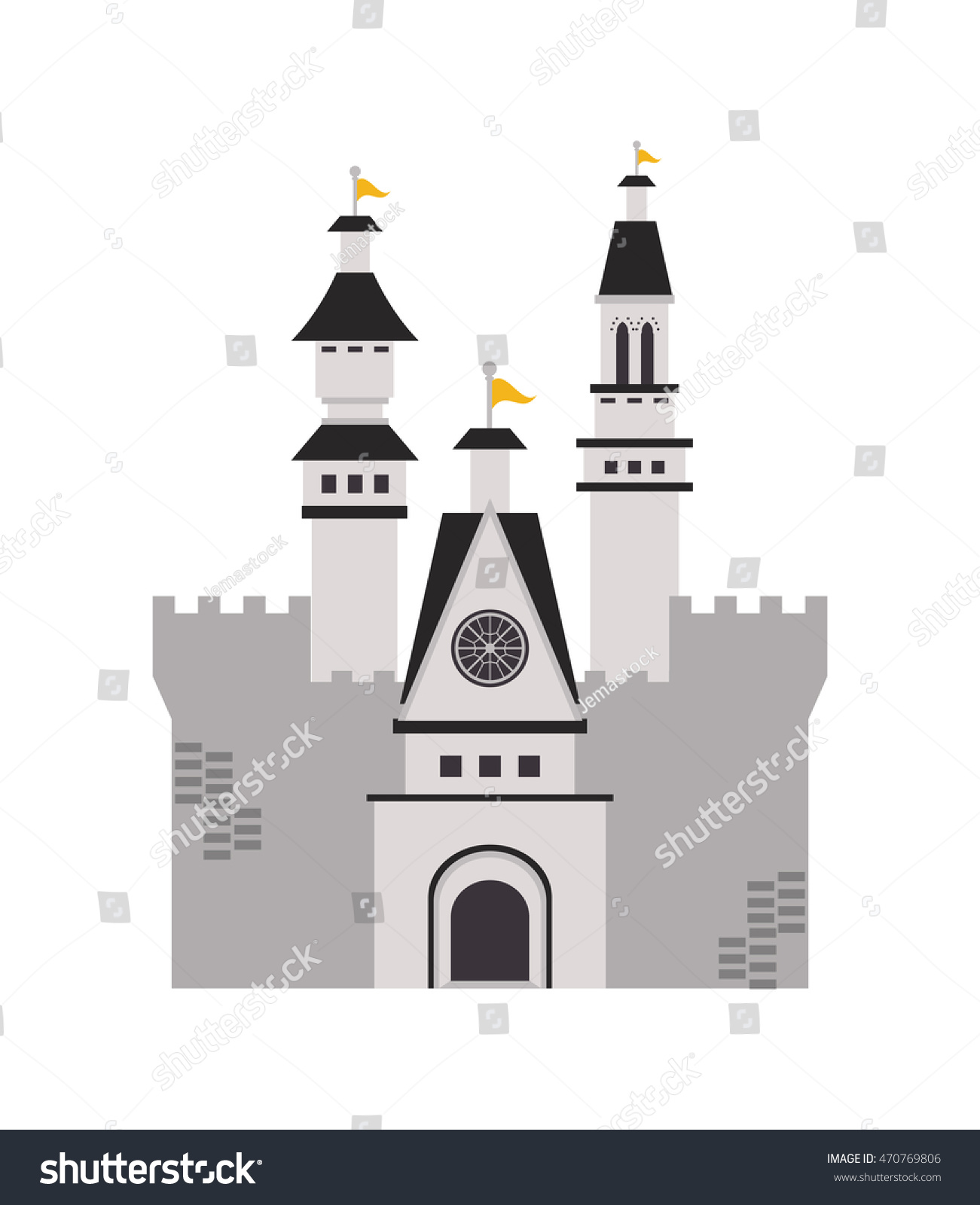 flat design large castle icon vector stock vector 470769806