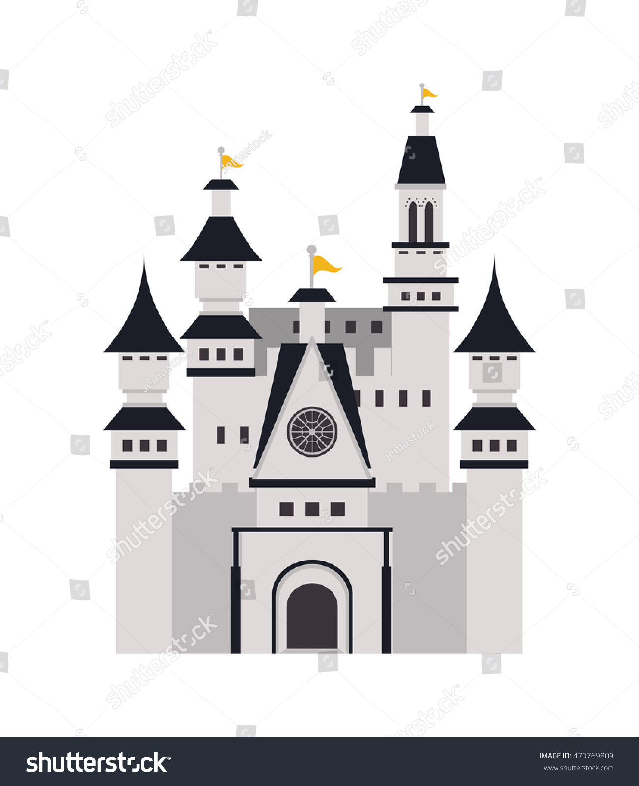 flat design large castle icon vector stock vector 470769809