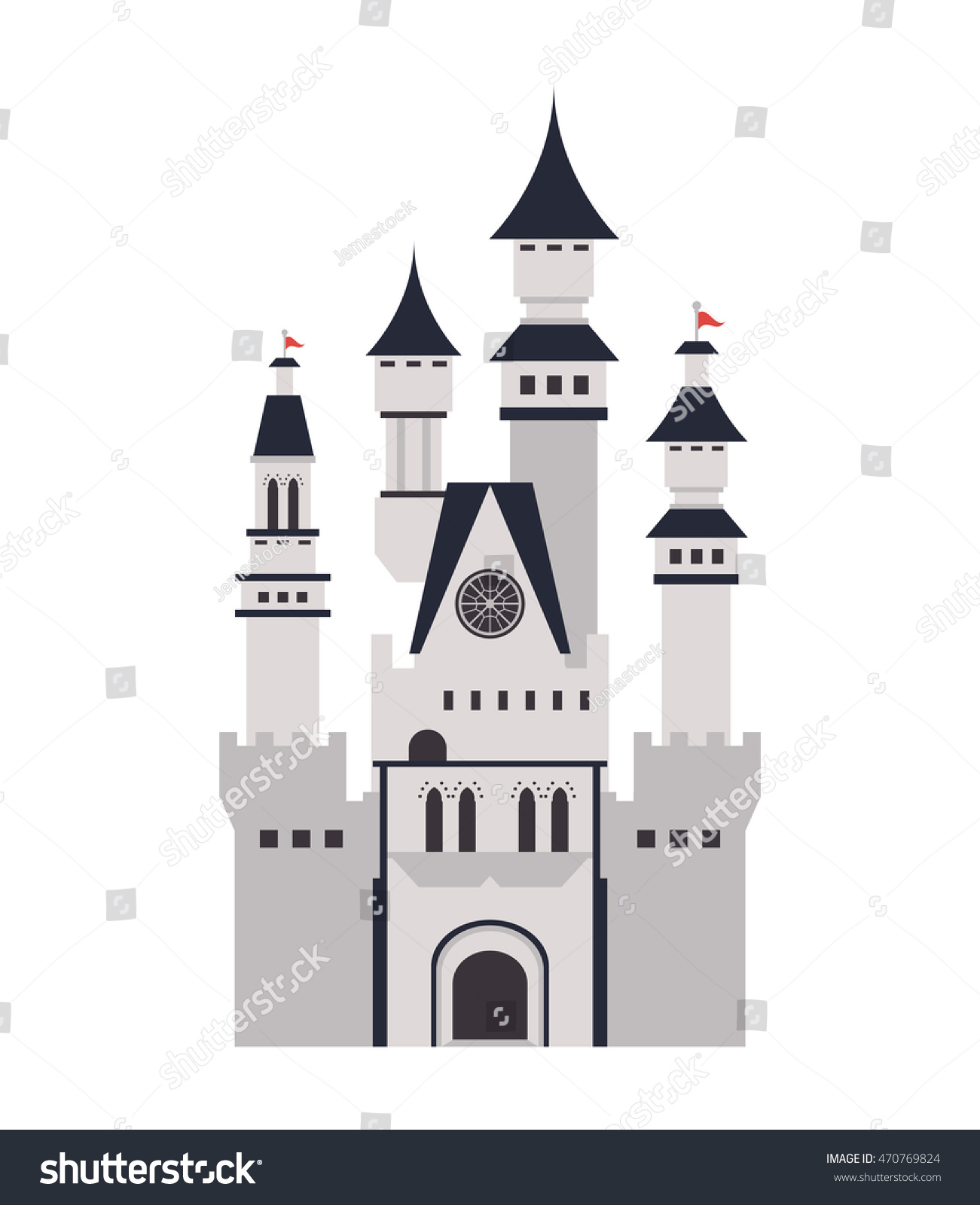 flat design large castle icon vector stock vector 470769824