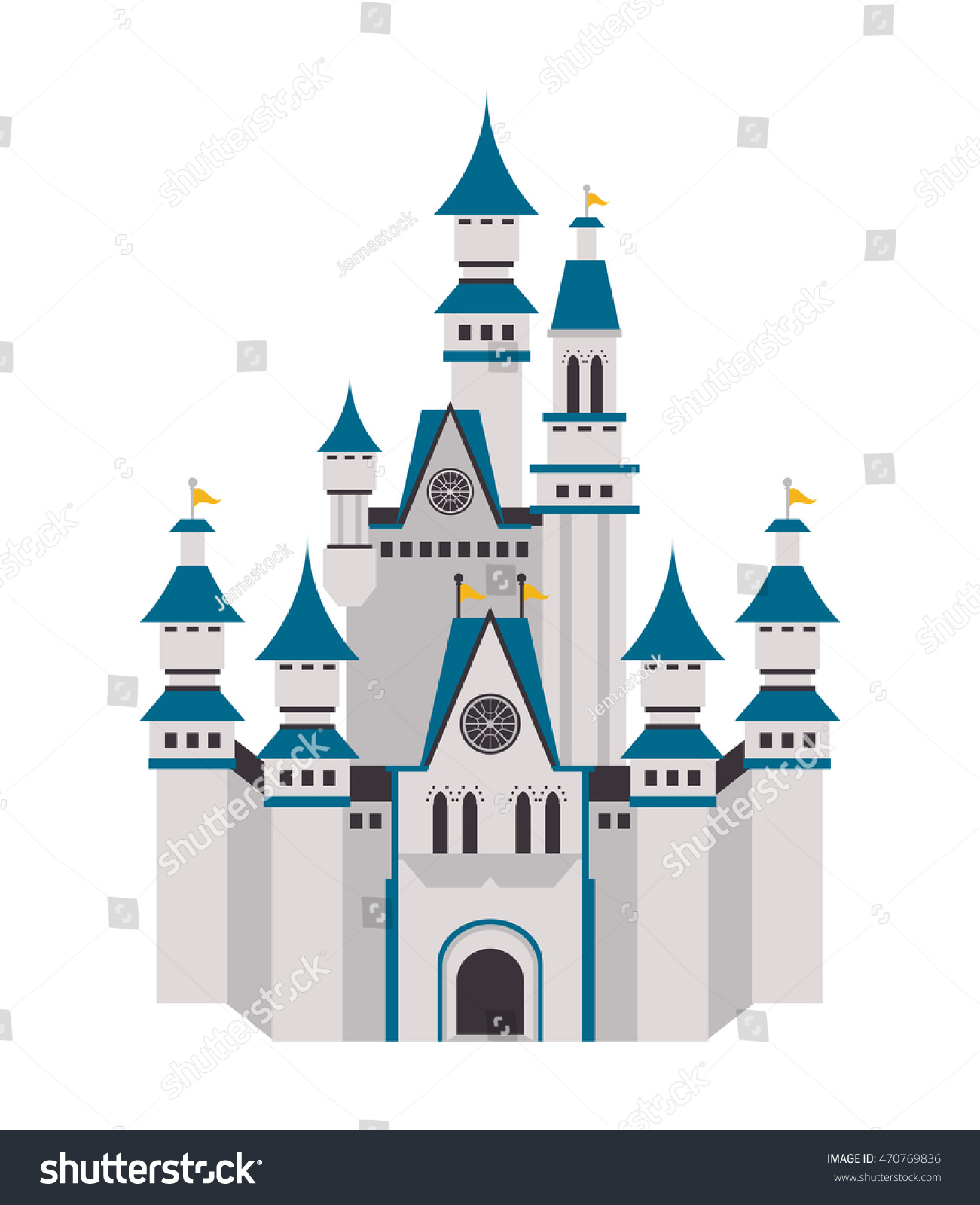 flat design large castle icon vector stock vector 470769836