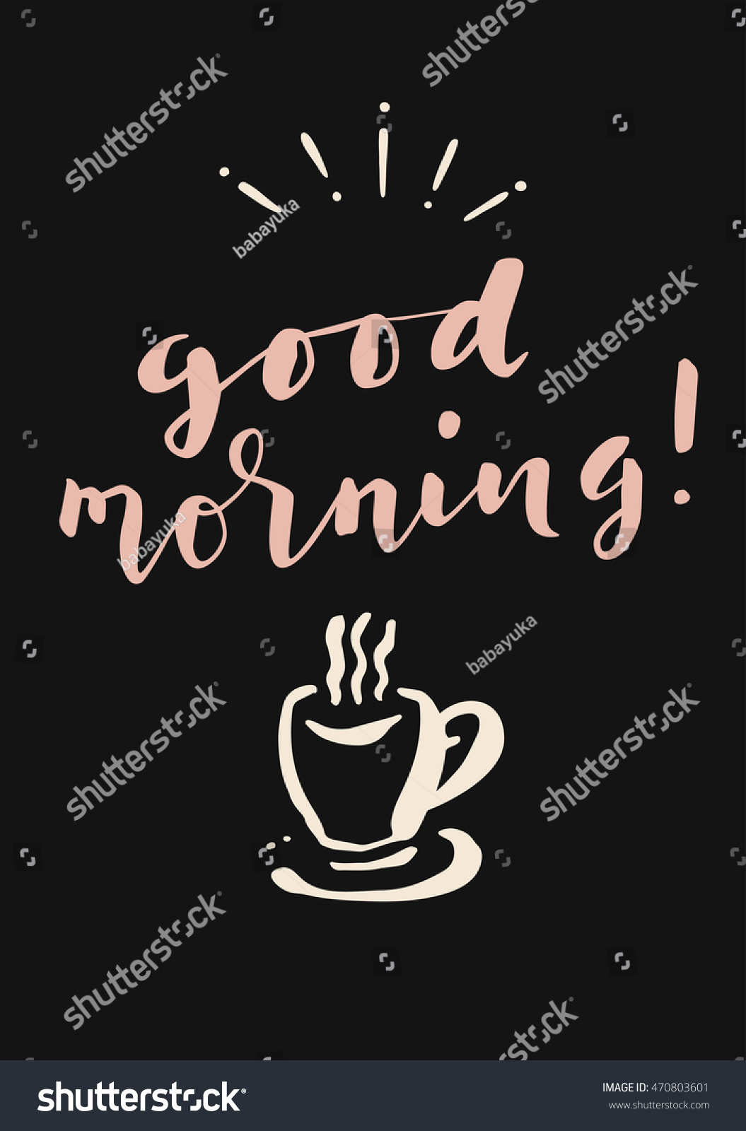 Good Morning Hand Lettered Greeting Card Stock Vector Hd Royalty
