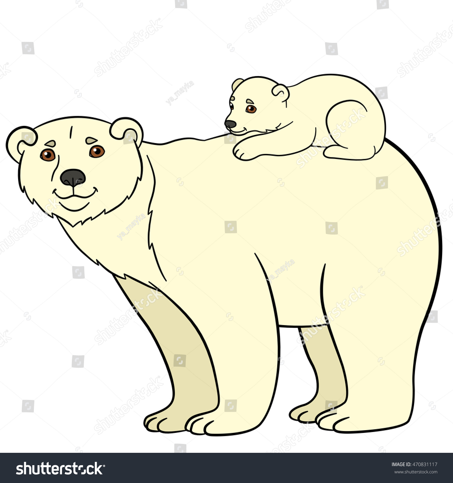 Cartoon Animals Mother Polar Bear With Her Little Cute Baby Ez