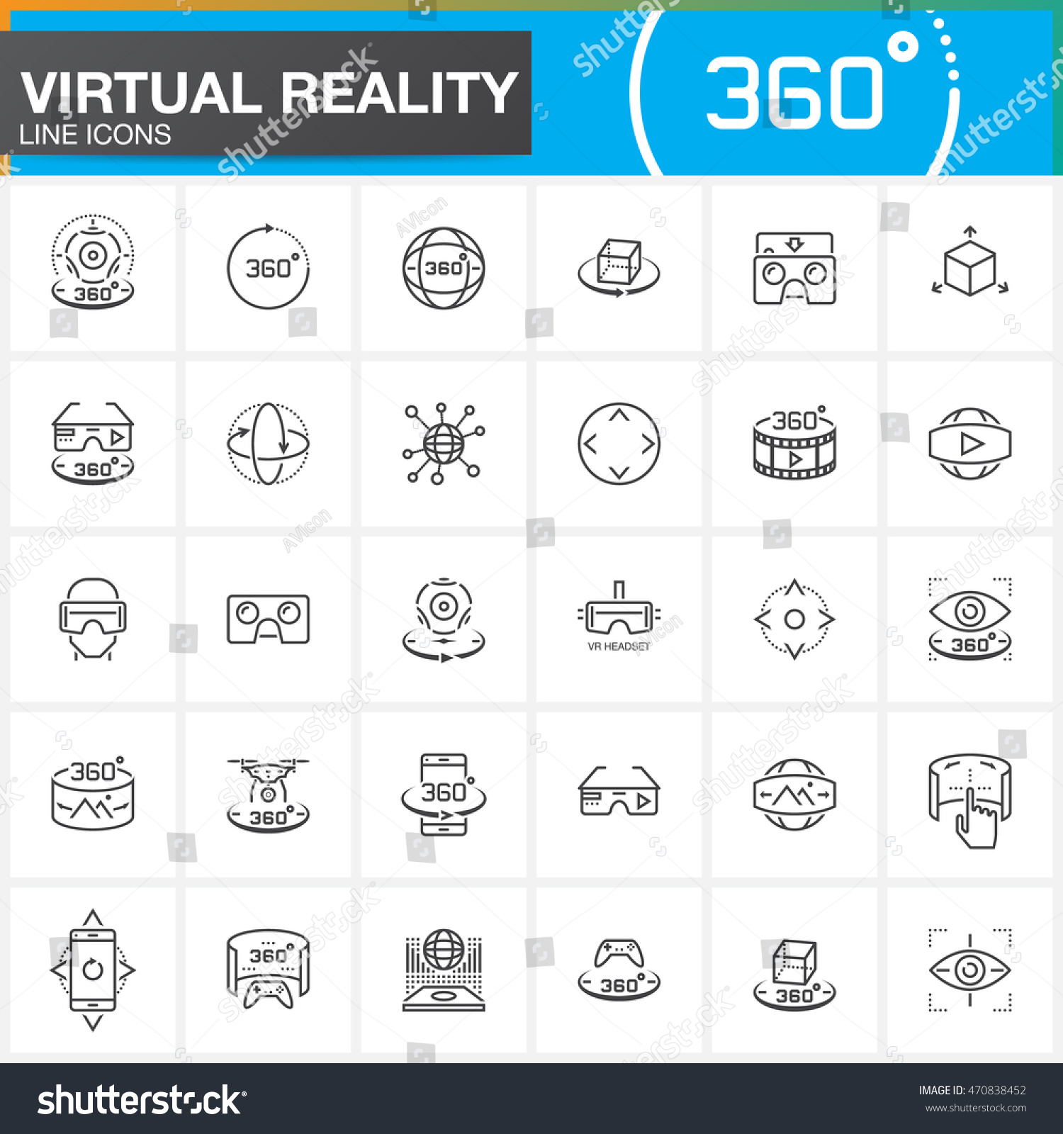 Virtual reality line icons set Innovation technologies AR glasses Head-mounted display VR gaming device Modern flat line design vector collection Outline logo illustration concept
