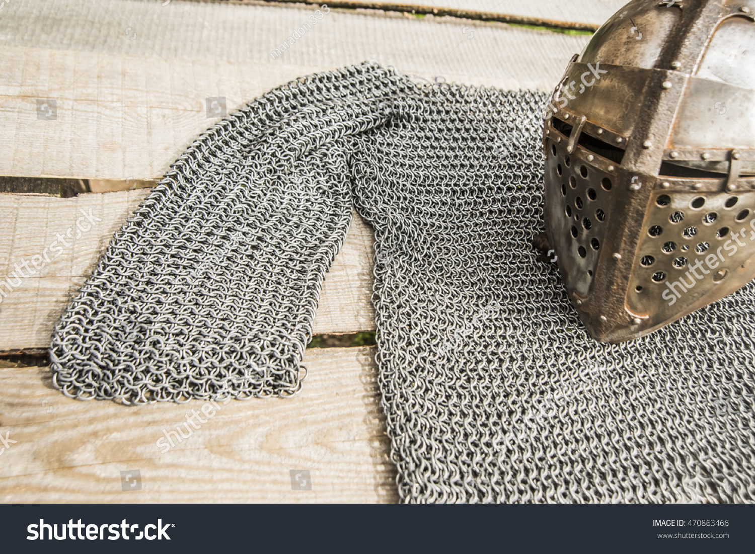 Old Knight Helmet Chain Mail Protection Stock Photo (Royalty Free ...