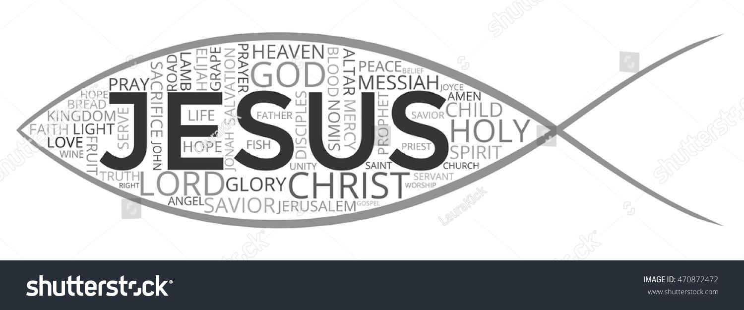 Isolated word cloud symbol jesus fish stock vector 470872472 isolated word cloud of symbol of jesus fish made of christian keywords biocorpaavc