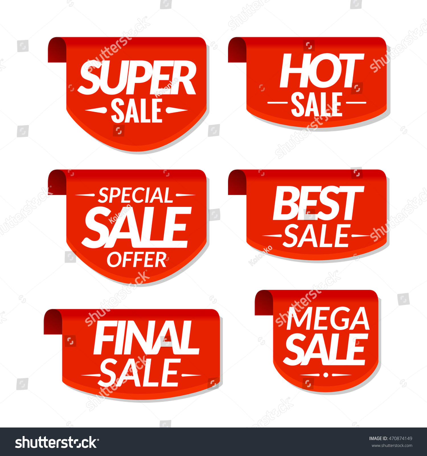 Sale tags labels special offer mega sale discount banners