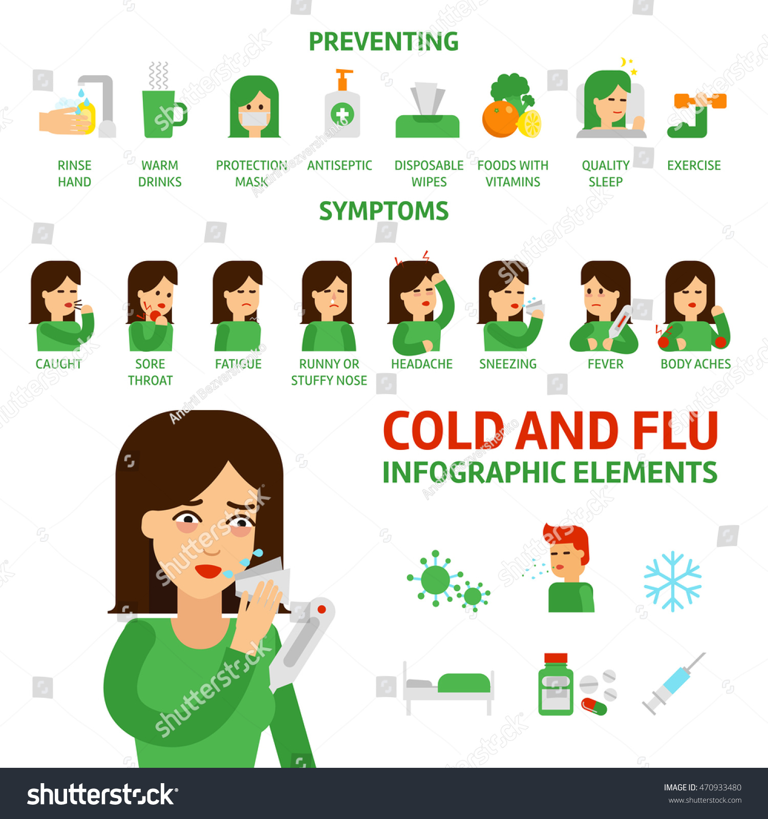 Flu Common Cold Infographic Elements Prevention Stock Vector Royalty Free 470933480