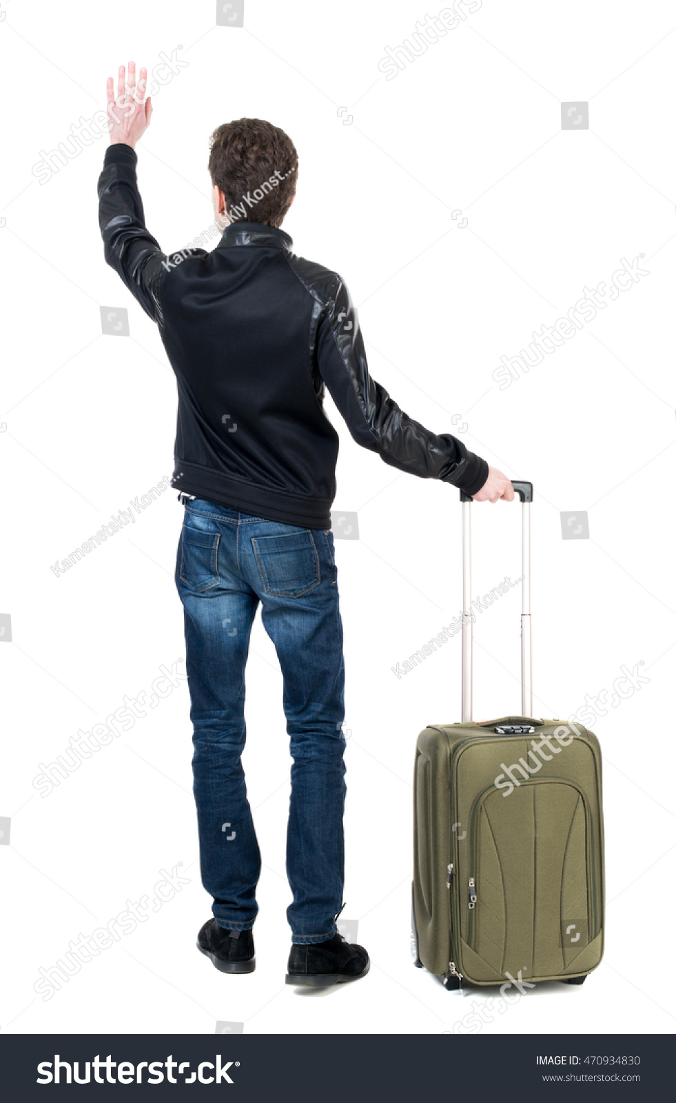 Back View Man Bag Greeting Waving Stock Photo 470934830 - Shutterstock