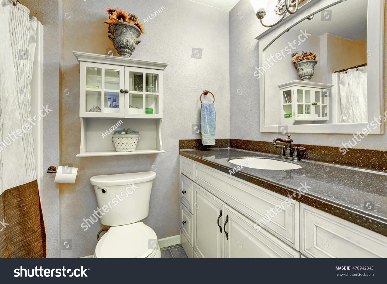 Small Bathroom Interior White Cabinets Granite Stock Photo Edit Now 470942843