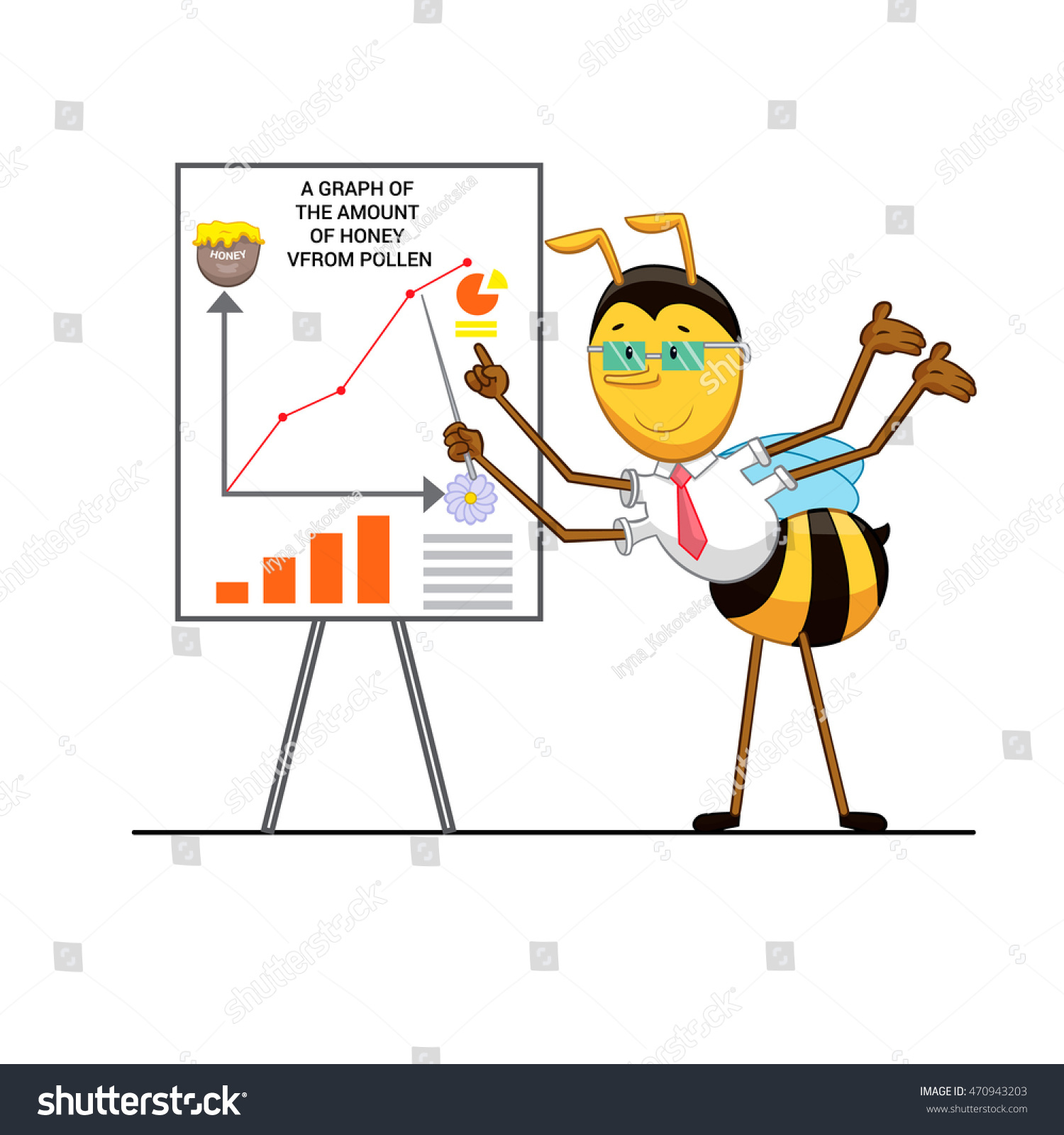 cartoon bee bee engineer doing presentation stock vector 470943203