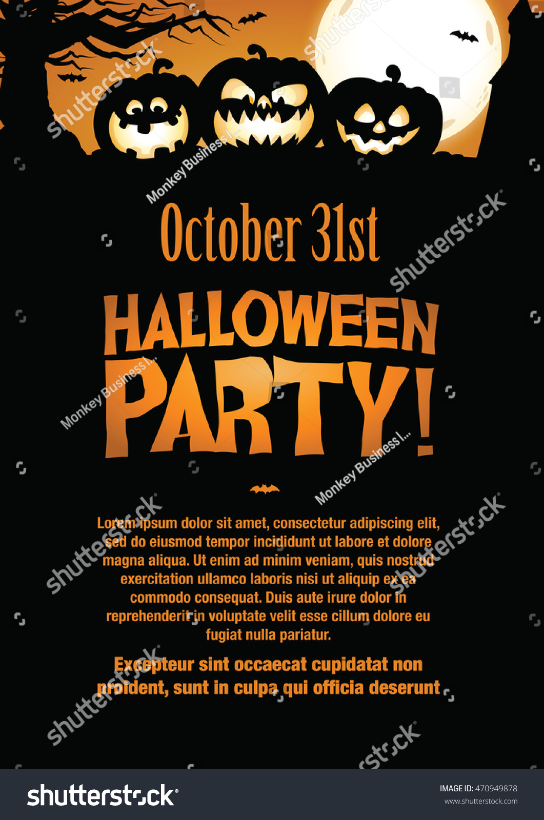 Halloween Party Invitation Flyer Editable Vector Stock Vector ...