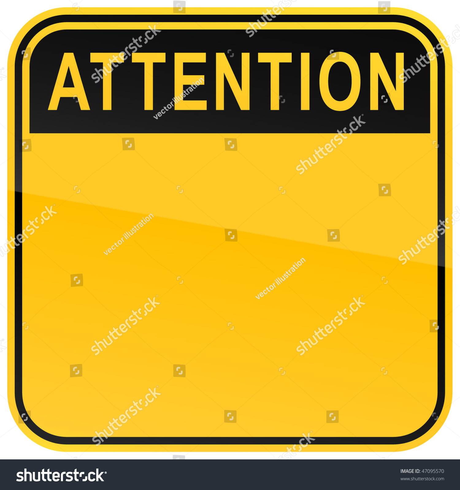 Yellow Warning Blank Attention Sign On Stock Vector