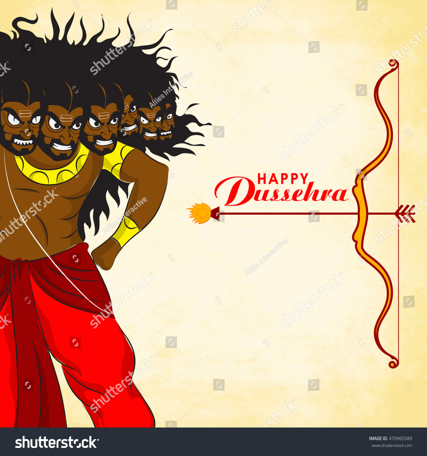 Creative illustration of Angry Ravana with bow and arrow on shiny background for Indian Festival Happy Dussehra celebration