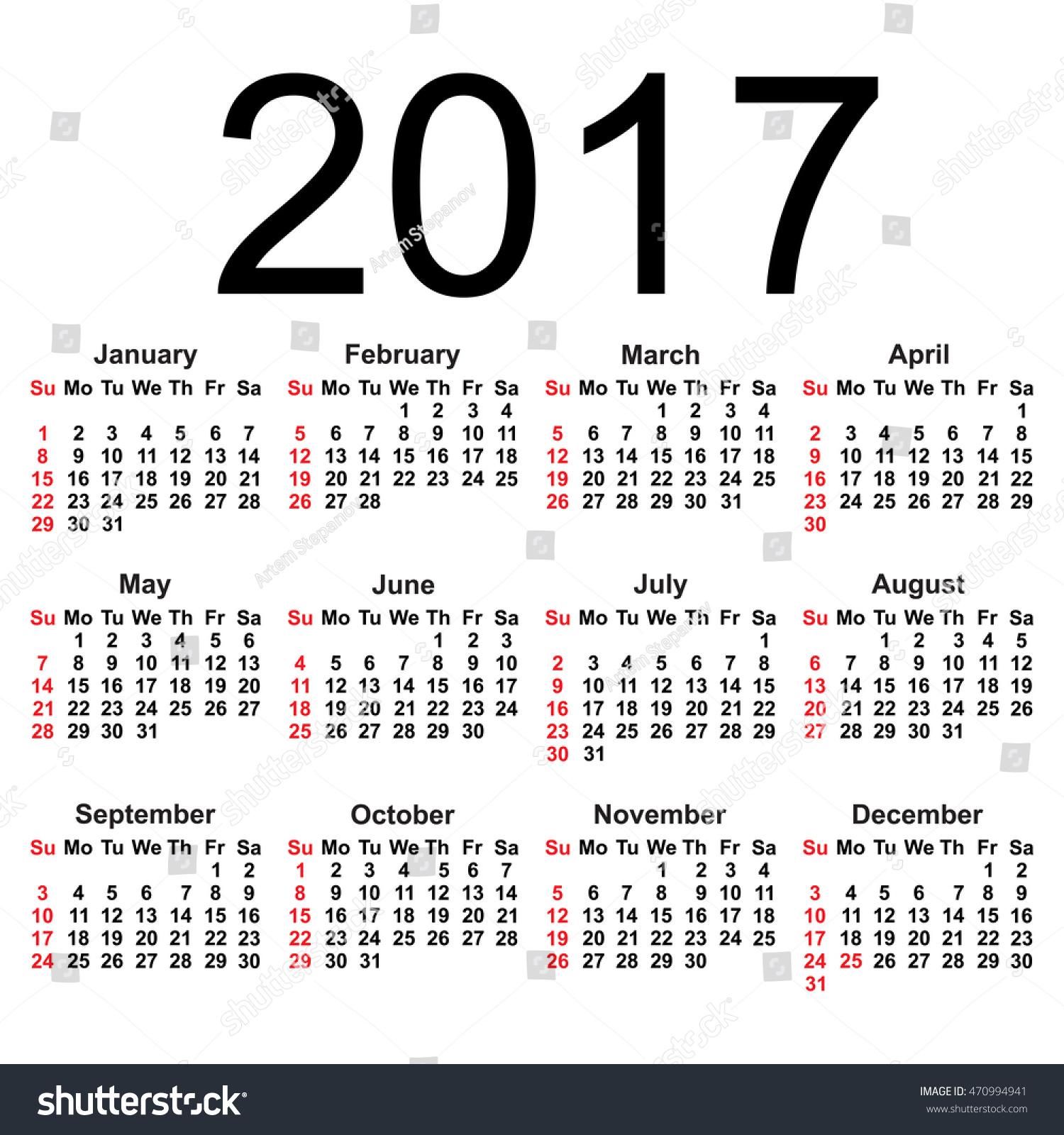 Simple 2017 Year Calendar Isolated On Stock Vector ...